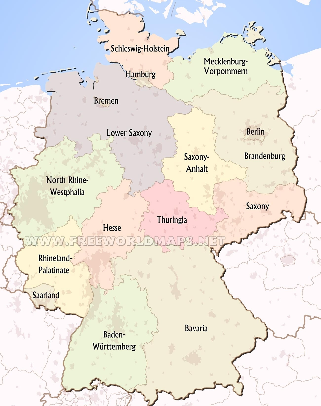 Germany Political Map regarding Outline Map Of Germany With States