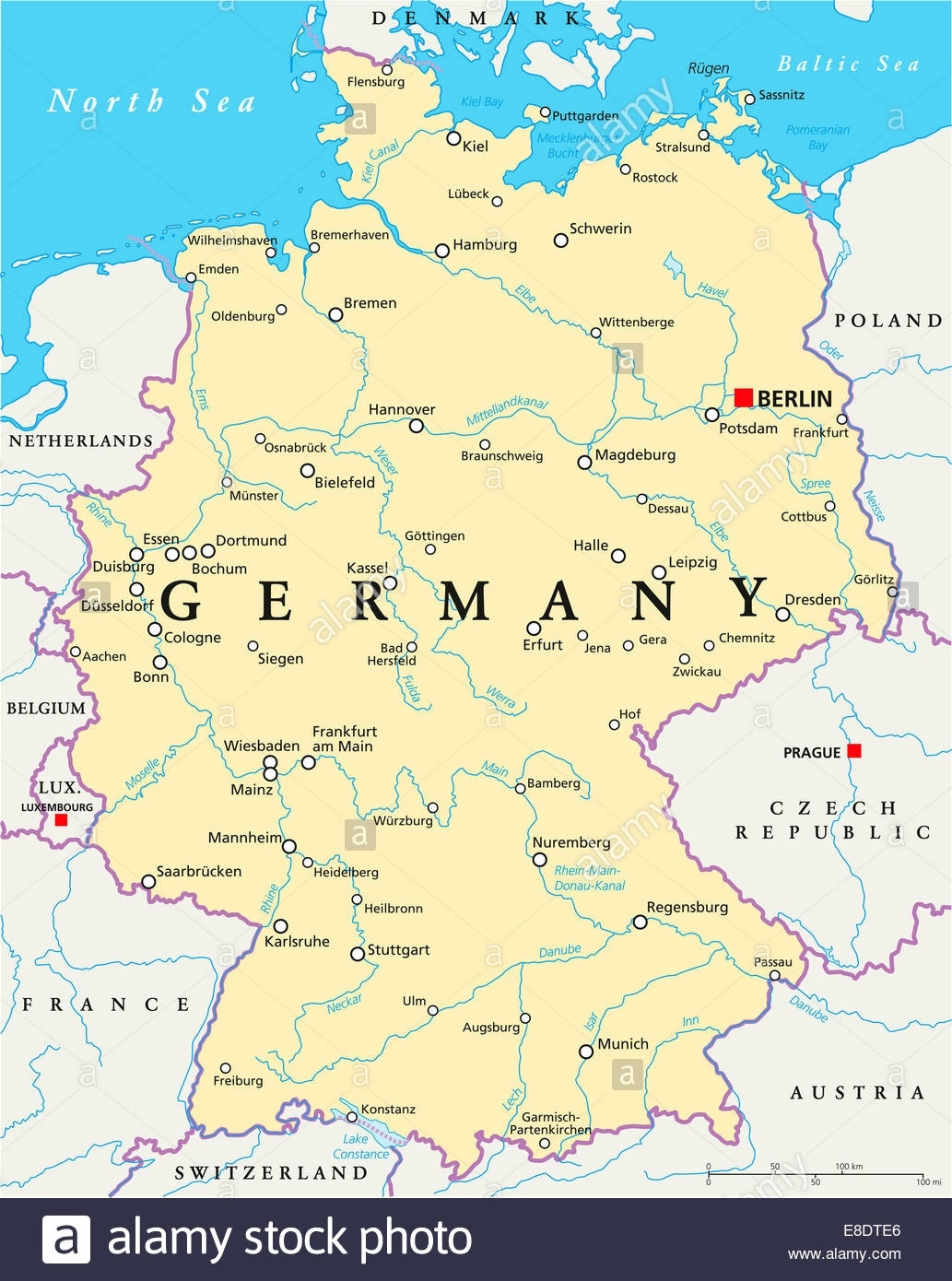 Germany Political Map With Capital Berlin, National Borders, Most throughout Map Of Germany In English