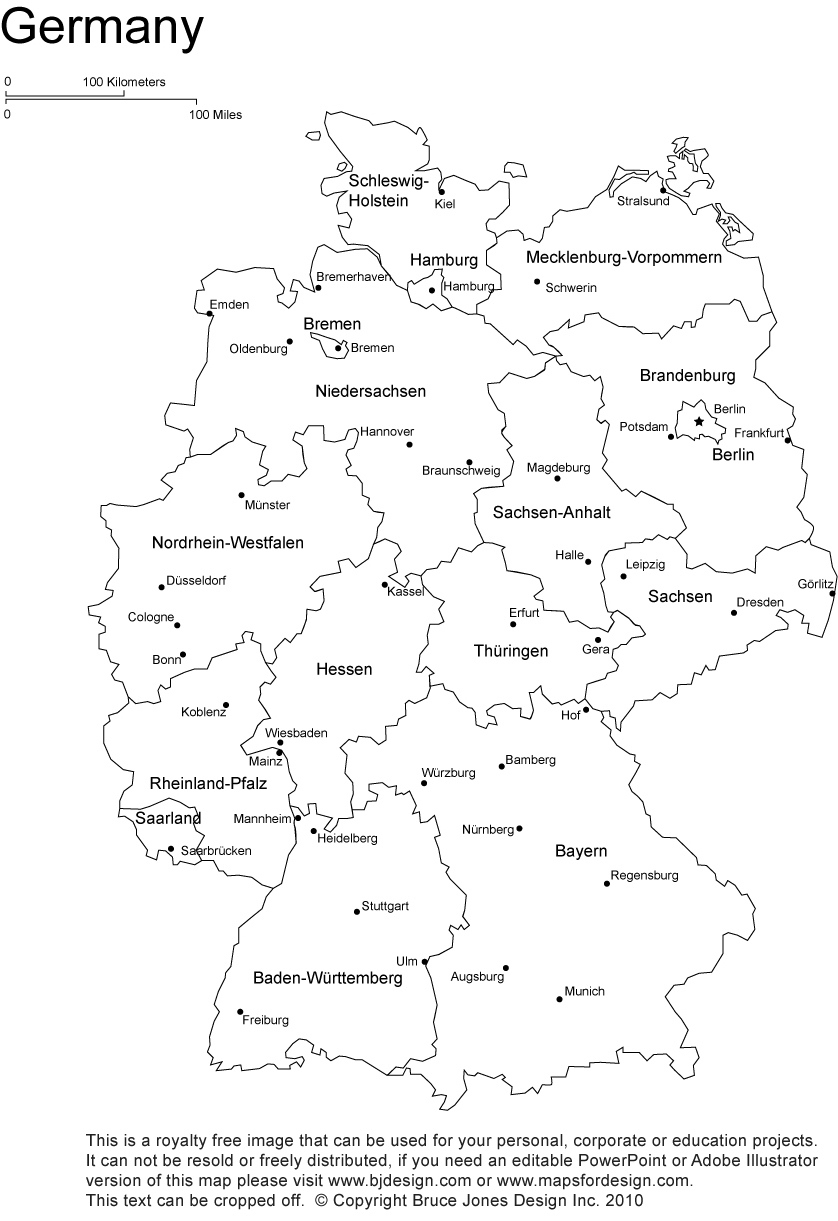 Germany Printable, Blank Maps, Outline Maps • Royalty Free in Outline Map Of Germany With States