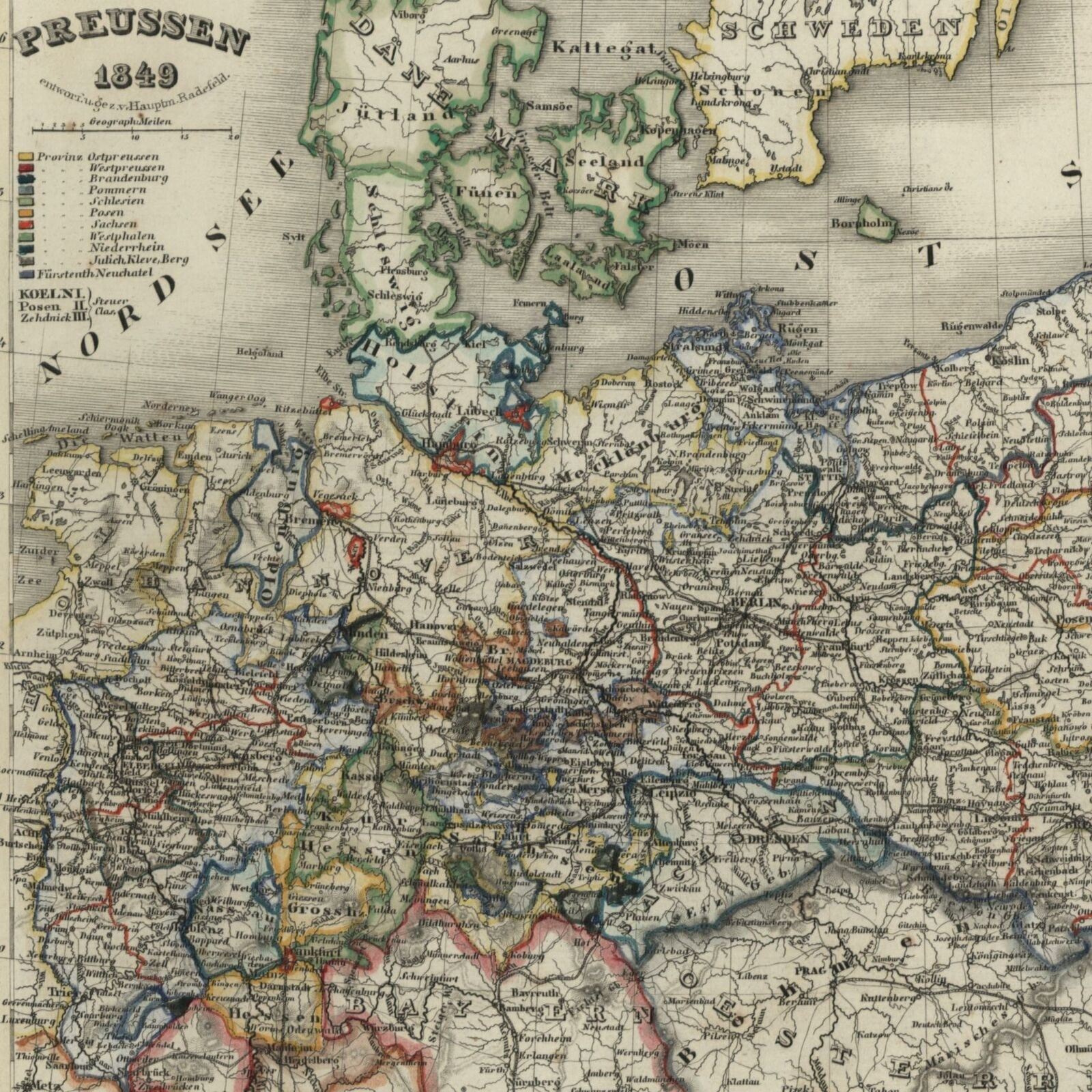 Germany Prussia Poland East Sea 1849 Meyer Detailed Map | Ebay throughout East Sea Germany Map