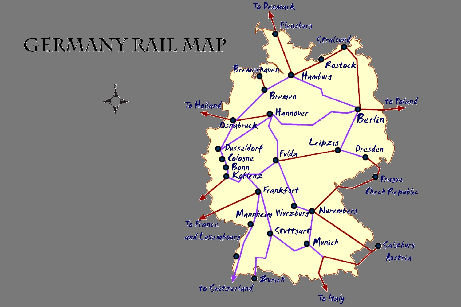 Germany Rail Map And Transportation Guide with Greece To Germany Train Map