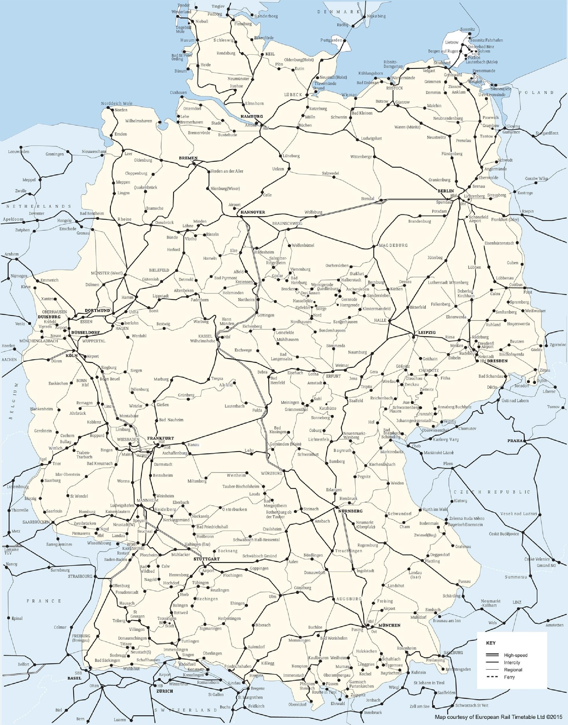 Germany Rail Map German Network - World Map intended for German Rail Map Bavaria