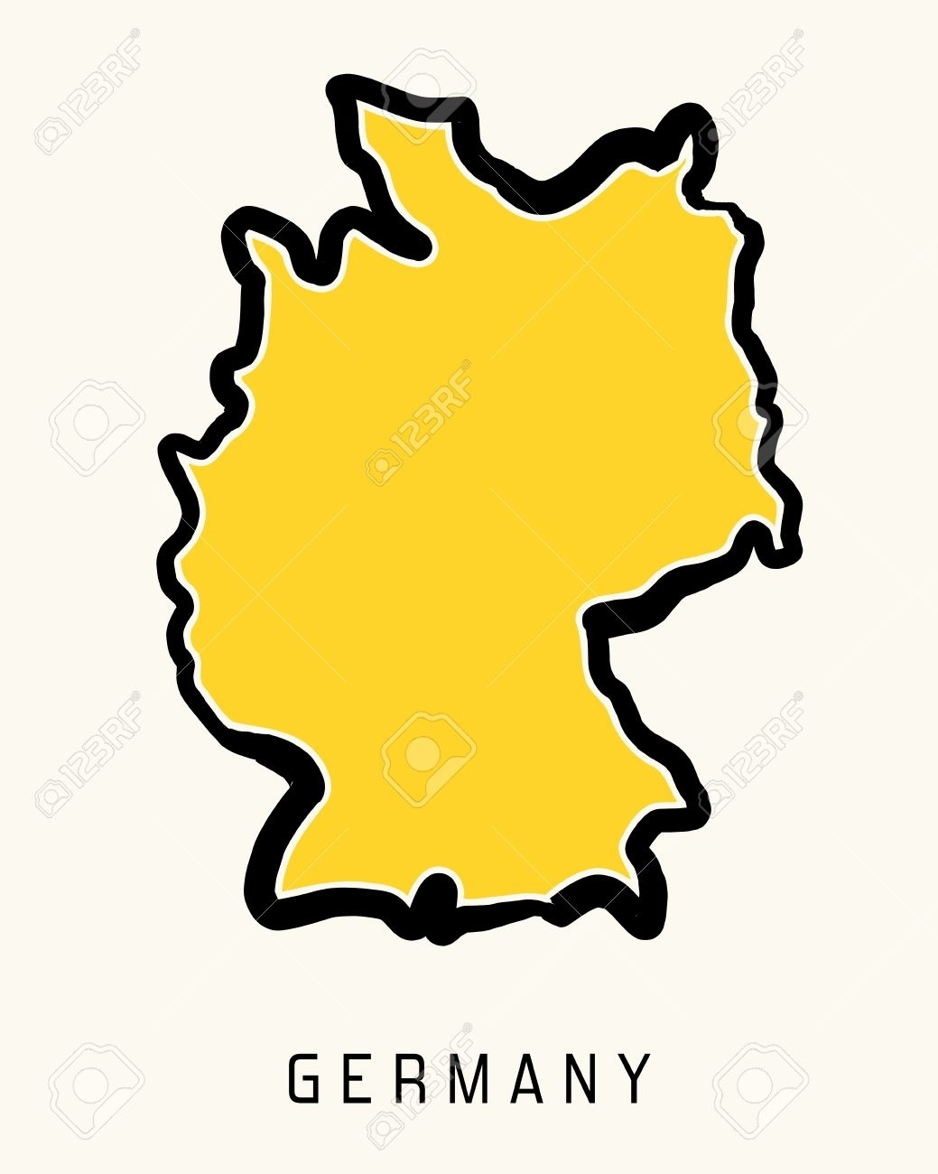 Germany Simple Map Outline - Simplified Country Shape Map Vector. with Germany Country Map Outline