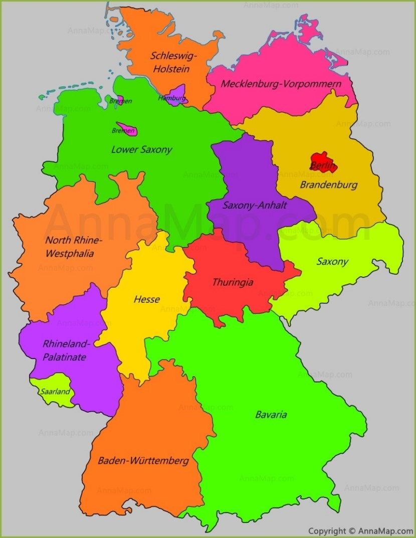 Germany States Map   States Of Germany - Annamap regarding Map Of Germany And Its States