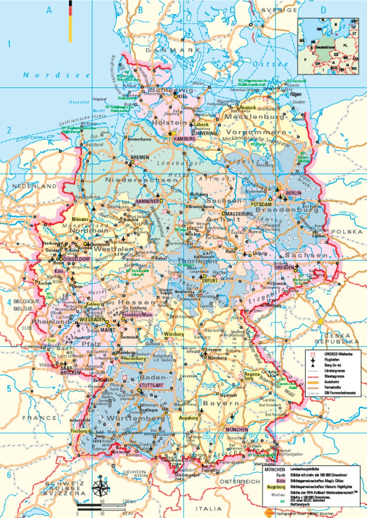 Germany Tourist Map - Germany • Mappery in Germany Map For Tourist
