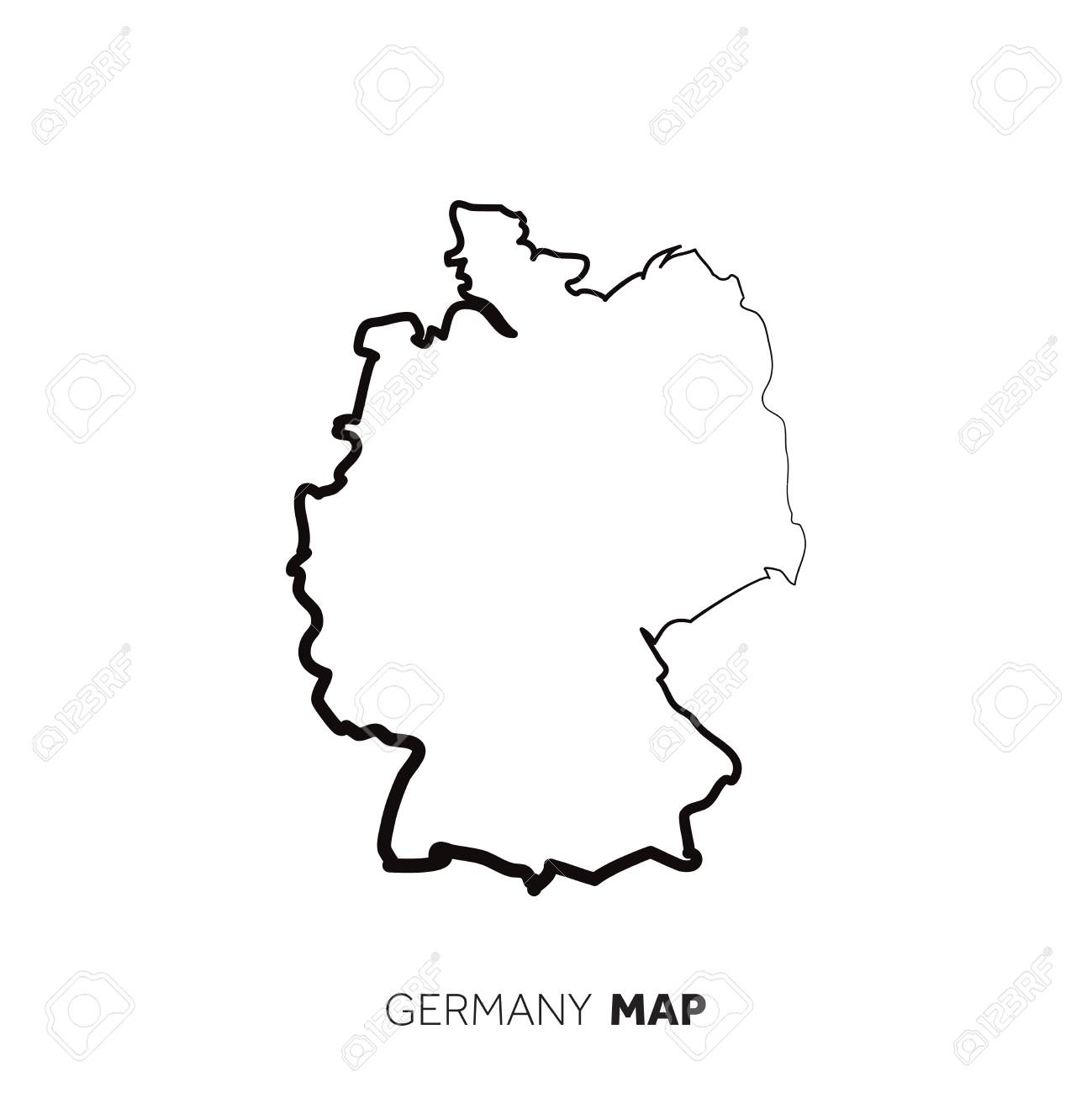 Germany Vector Country Map Outline. Black Line On White Background inside Germany Country Map Outline