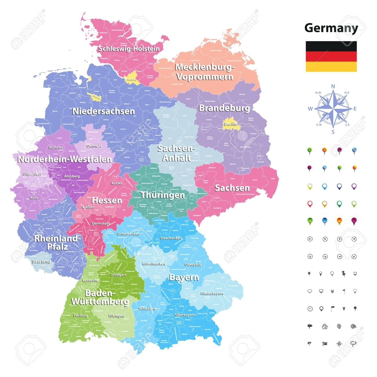 Germany Vector Map (Coloredstates And Administrative Districts).. for Germany Districts Map
