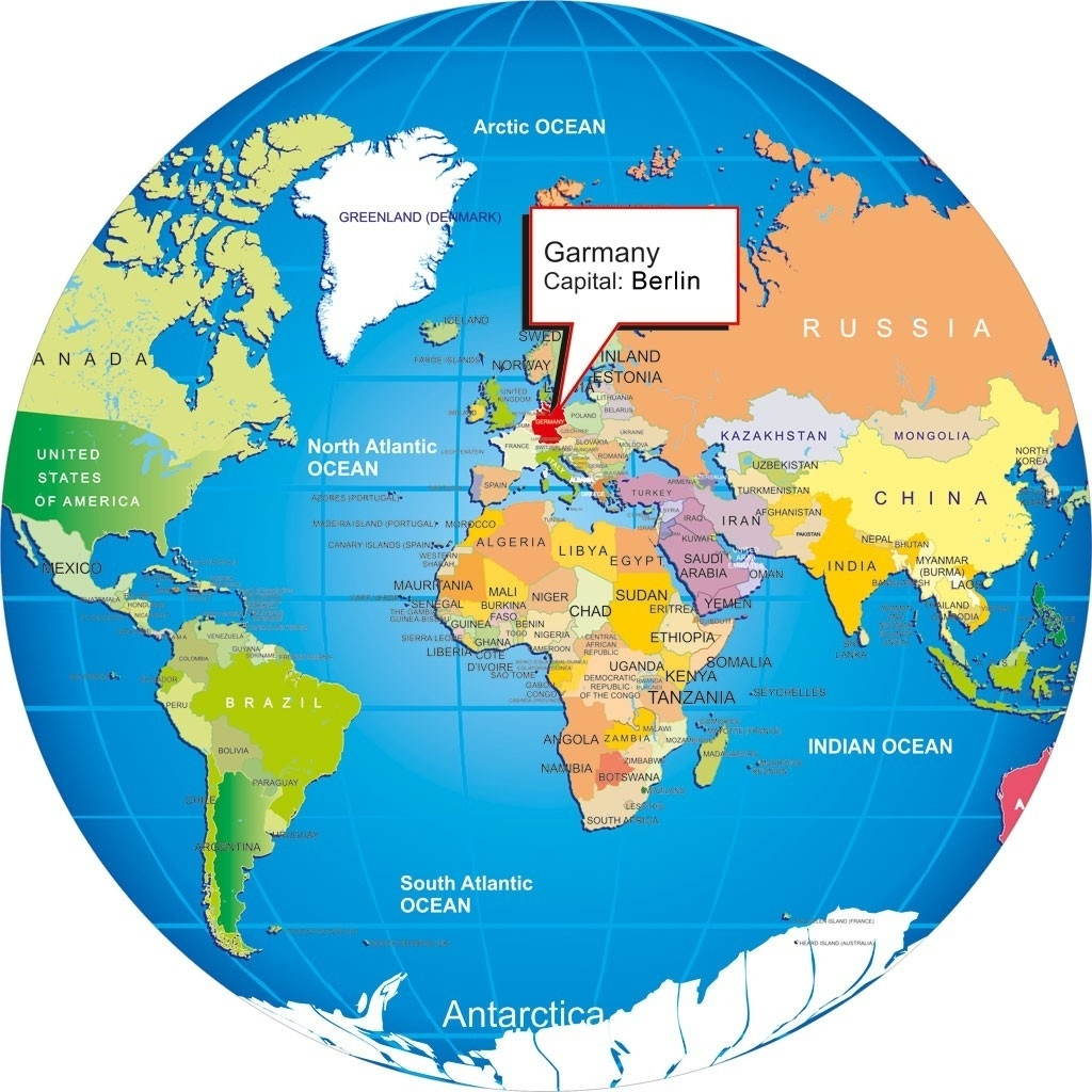 Germany With World Map On 4 - World Wide Maps throughout Map Of The World With Germany