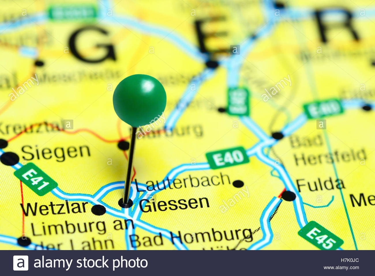 Giessen Pinned On A Map Of Germany Stock Photo: 125192772 - Alamy with regard to Giessen Germany Map