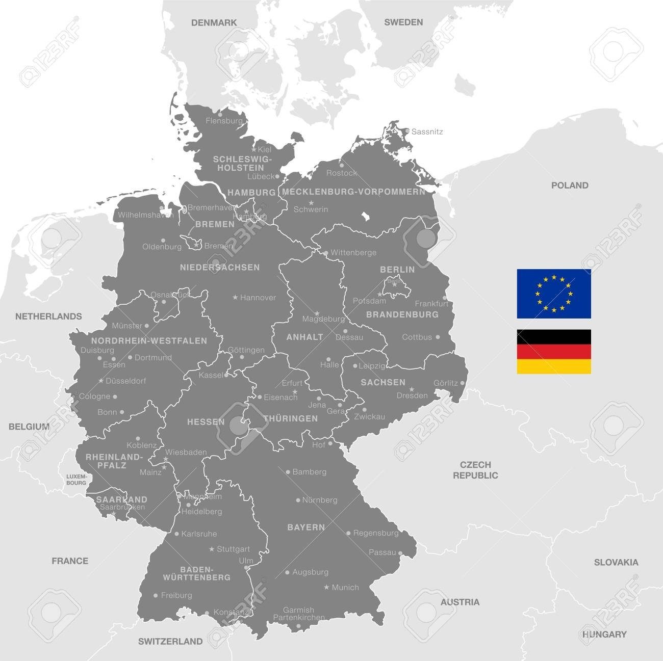 Grey Vector Map Of Germany With Administrative Borders, City.. in World Map Of Germany And Surrounding Countries