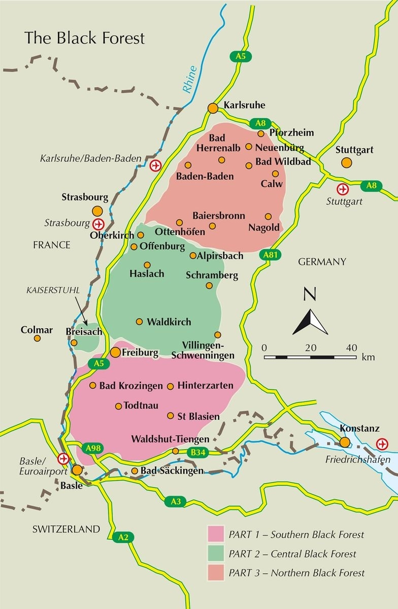 Guiding To Walking, Trekking And Biking In The Black Forest - Cicerone throughout Black Forest Area Germany Map