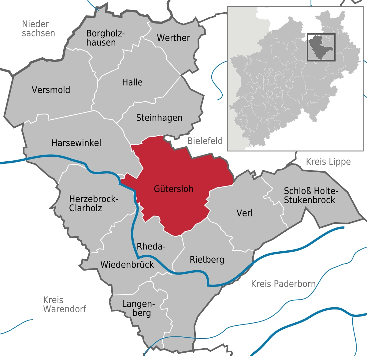 Gütersloh - Wikipedia with Map Of Gutersloh Germany
