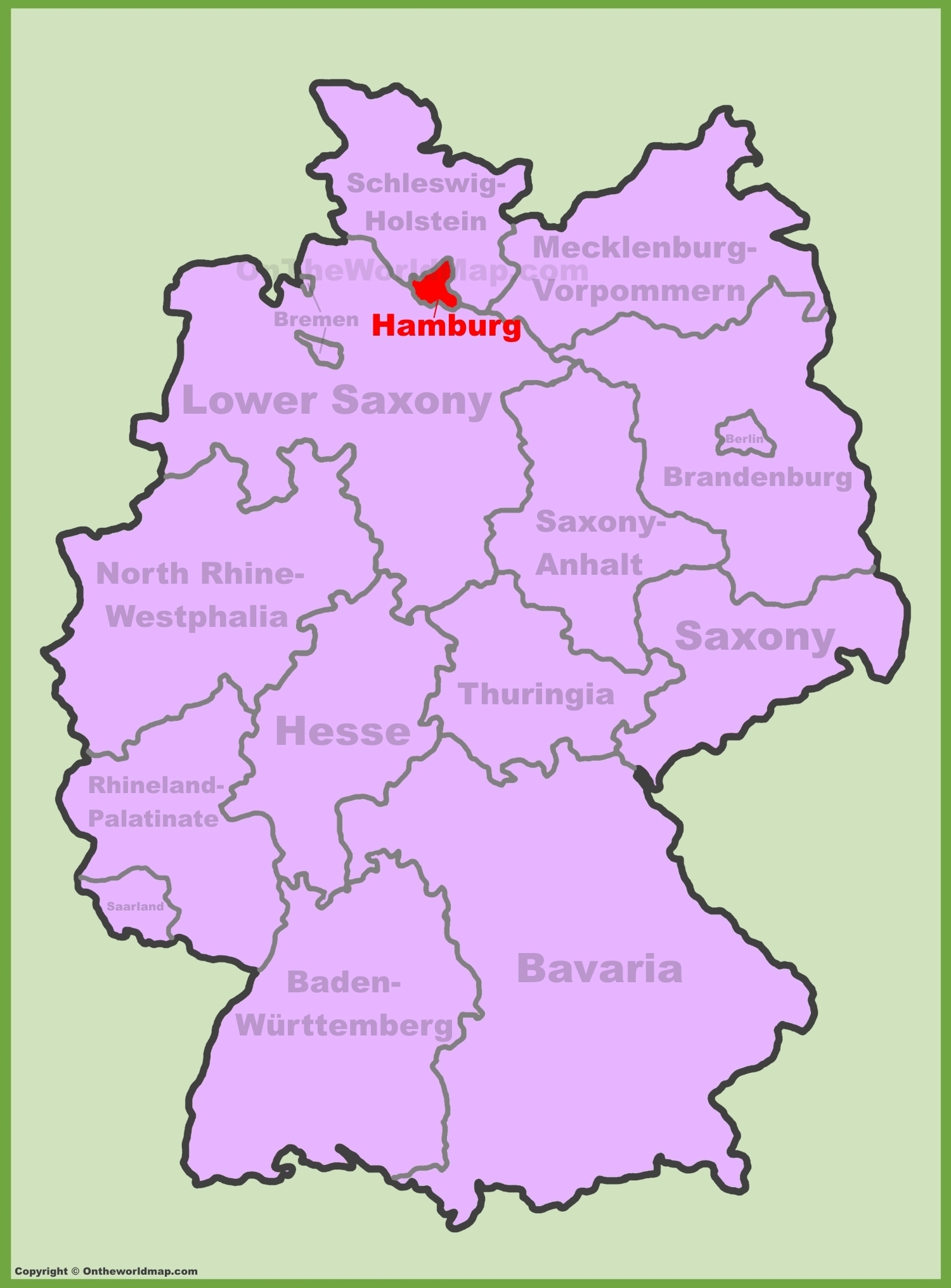 Hamburg Location On The Germany Map with Map Of Germany Showing Hamburg