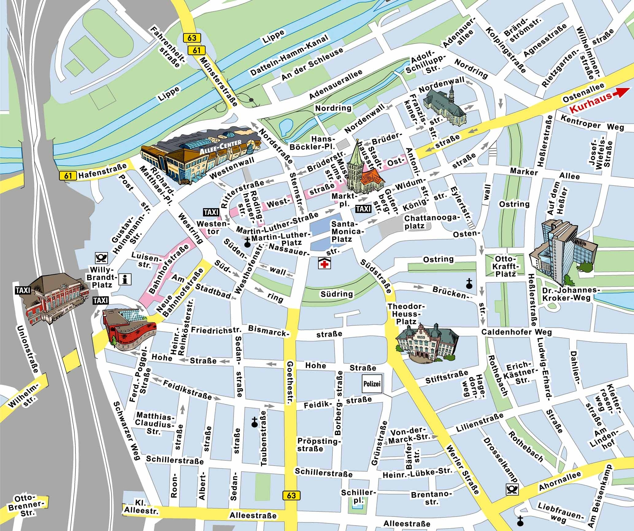Hamm Center Tourist Map - Hamm Germany • Mappery throughout Map Of Hamm Germany