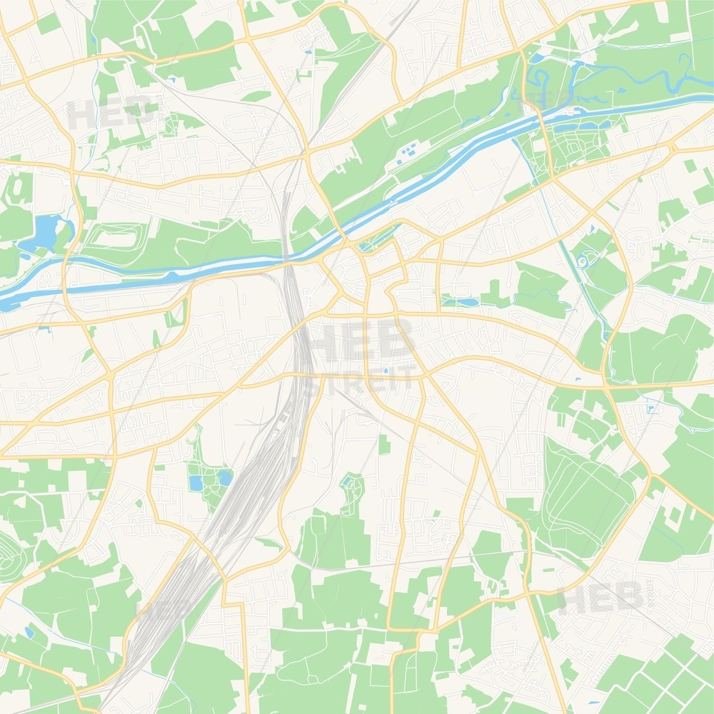 Hamm, Germany Vector Map - Classic Colors intended for Map Of Hamm Germany