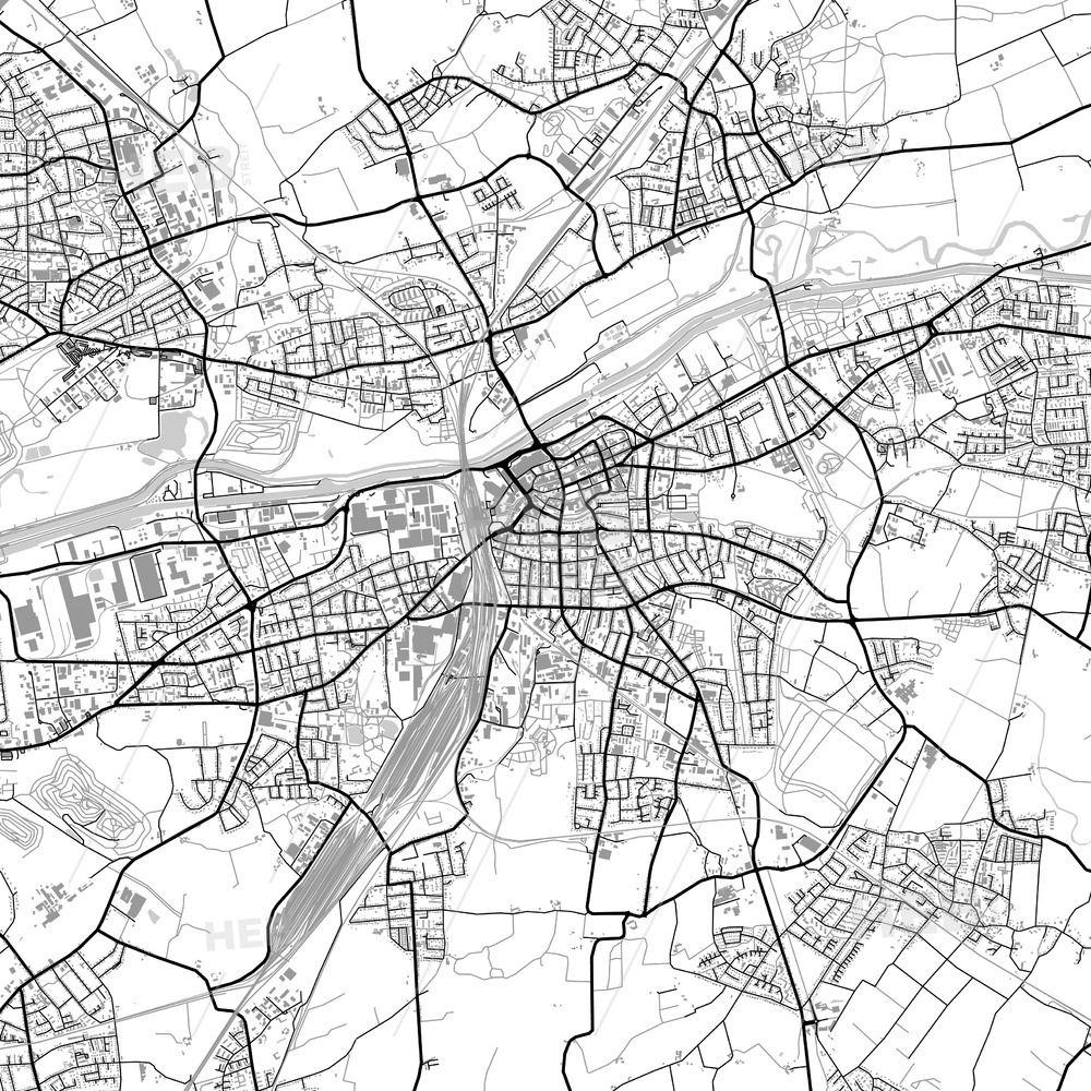 Hamm, Germany, Vector Map With Buildings inside Map Of Hamm Germany