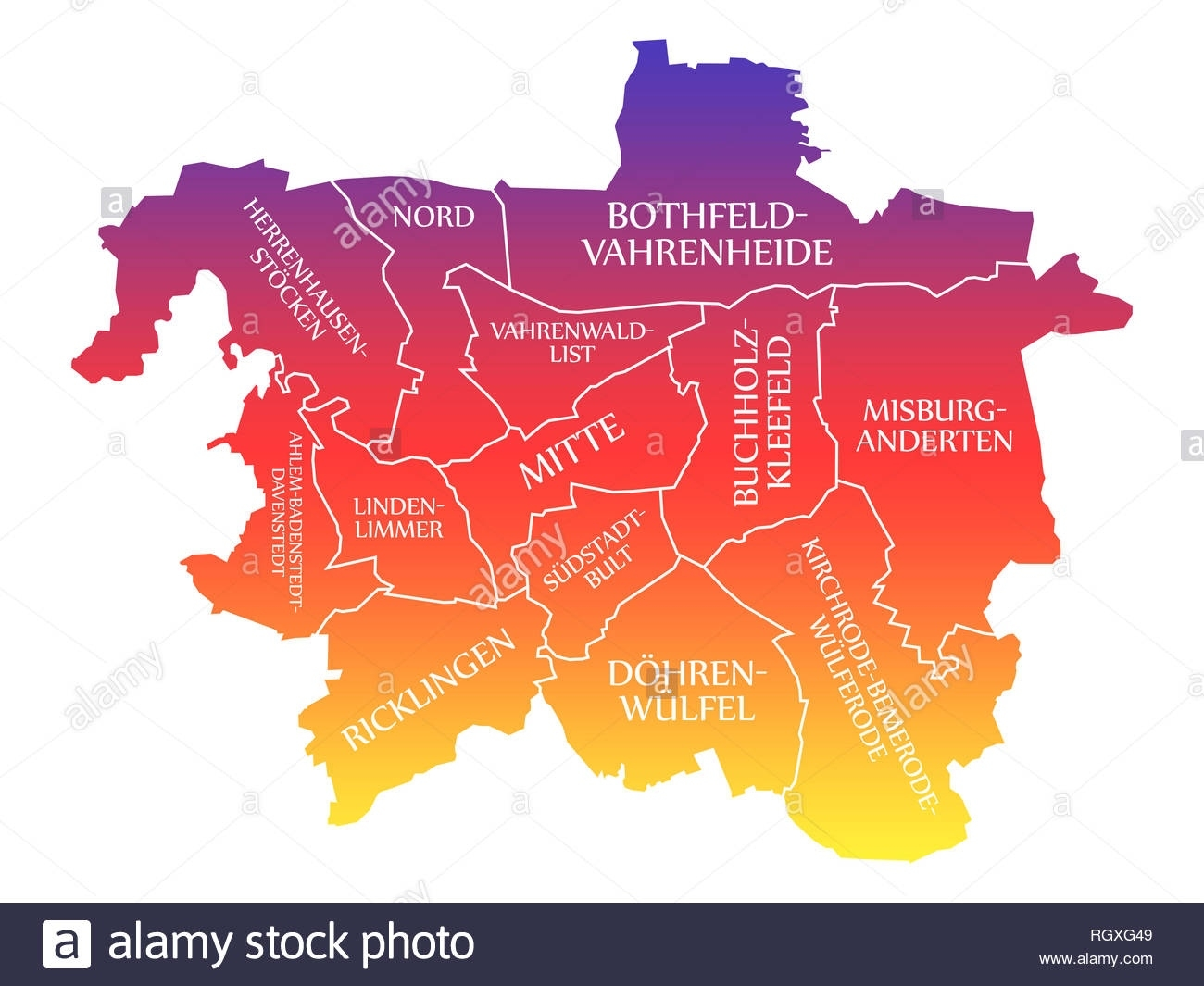 Hannover City Map Germany De Labelled Rainbow Colored Illustration throughout Hannover Germany Map