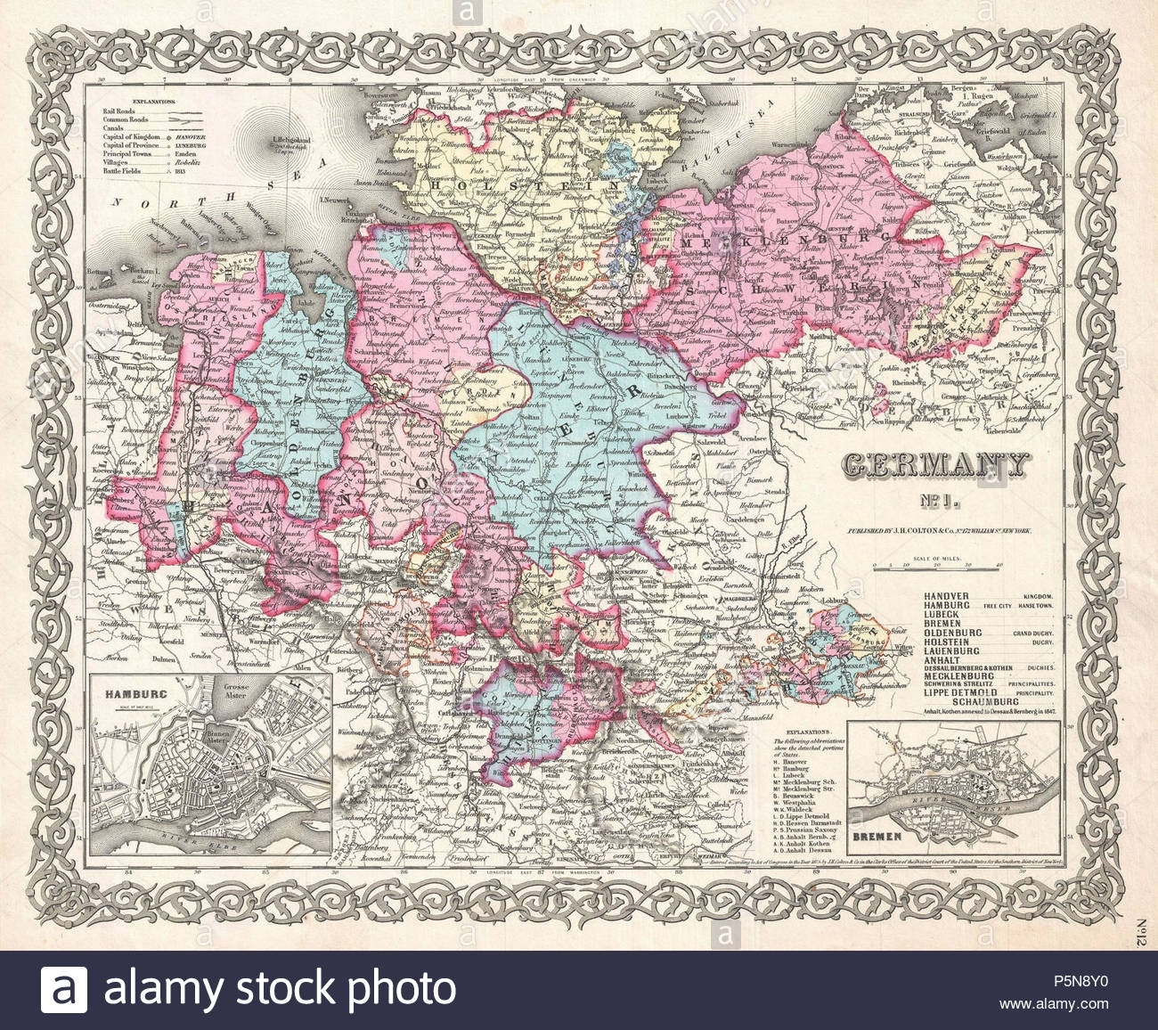 Hannover Germany Map Stock Photos & Hannover Germany Map Stock in Map Of Hannover Germany In 1850