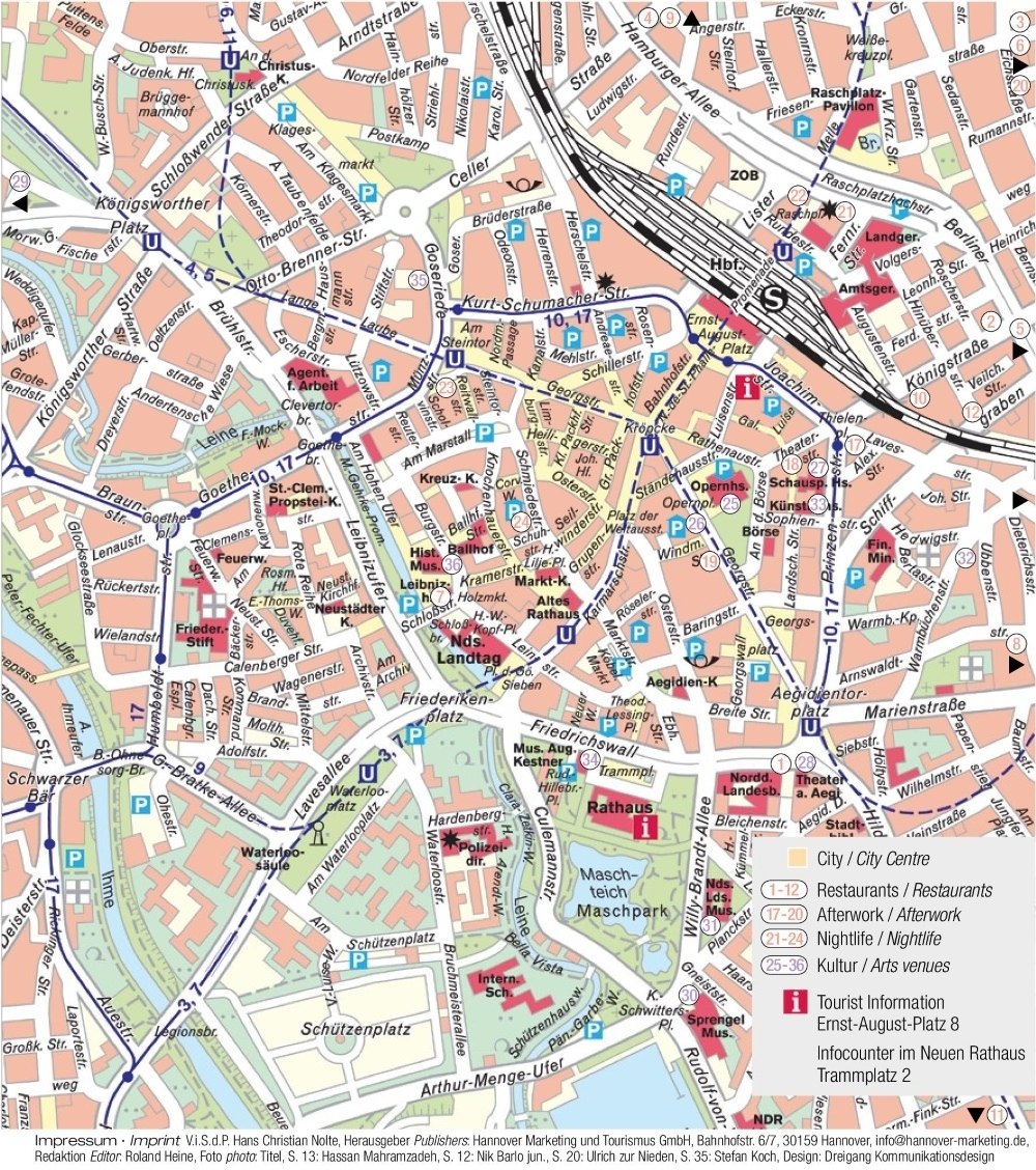 Hannover Tourist Map throughout Hannover Germany Map