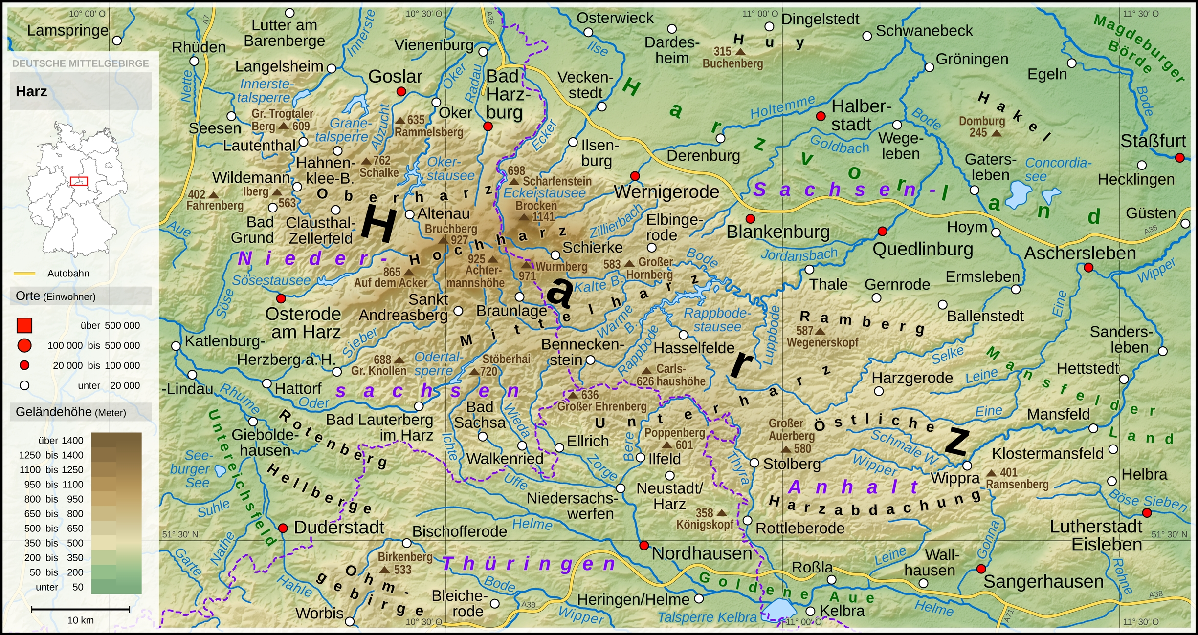 Harz - Wikipedia for Mountains In Germany Map