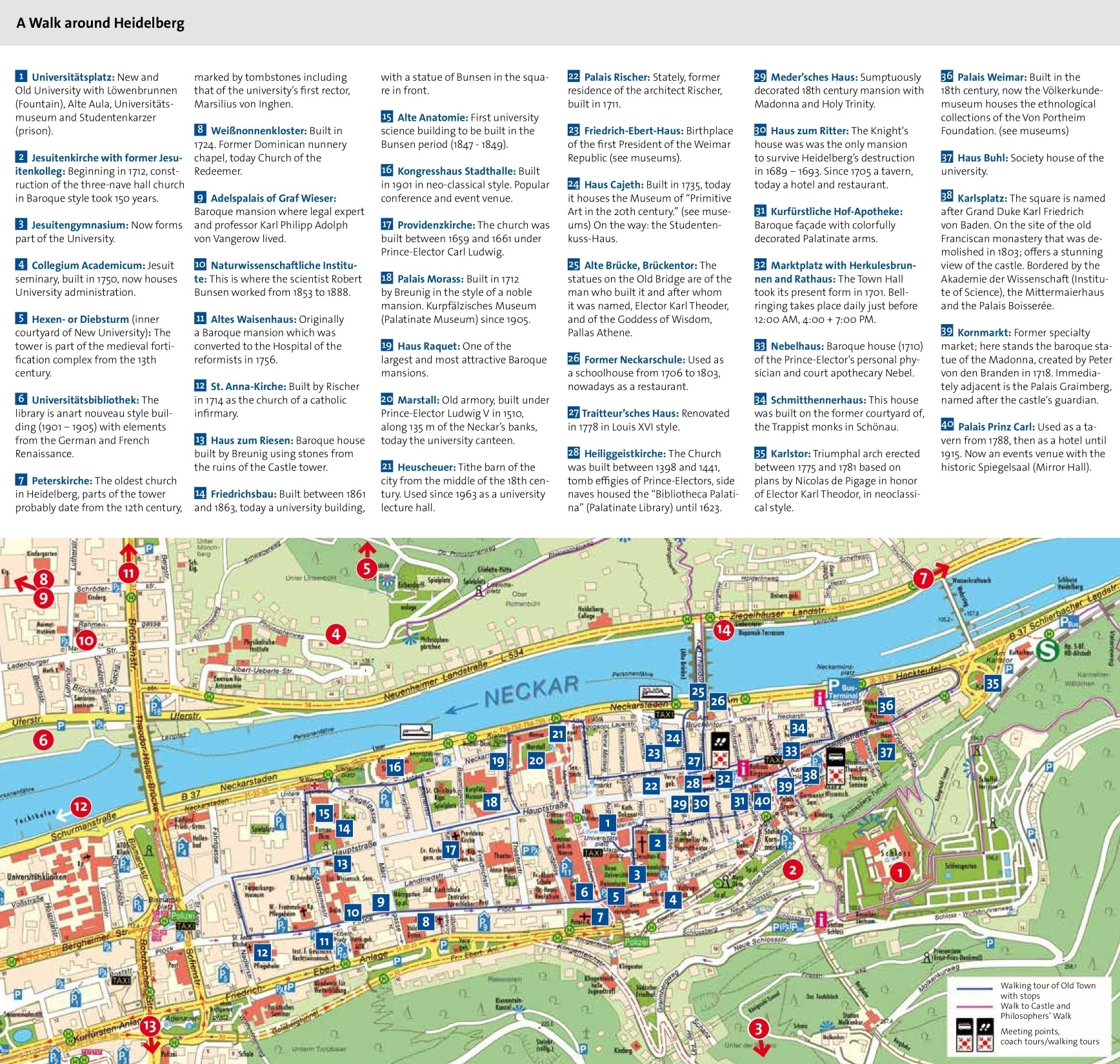 Heidelberg Tourist Attractions Map intended for City Map Of Heidelberg Germany