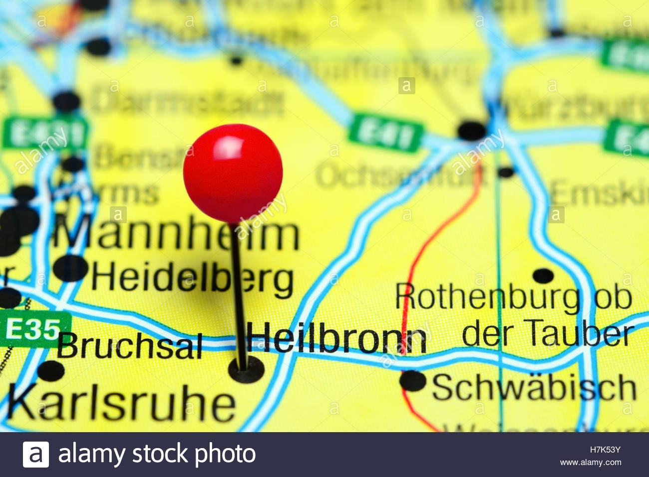 Heilbronn Pinned On A Map Of Germany Stock Photo: 125196287 - Alamy pertaining to Heilbronn Germany Map