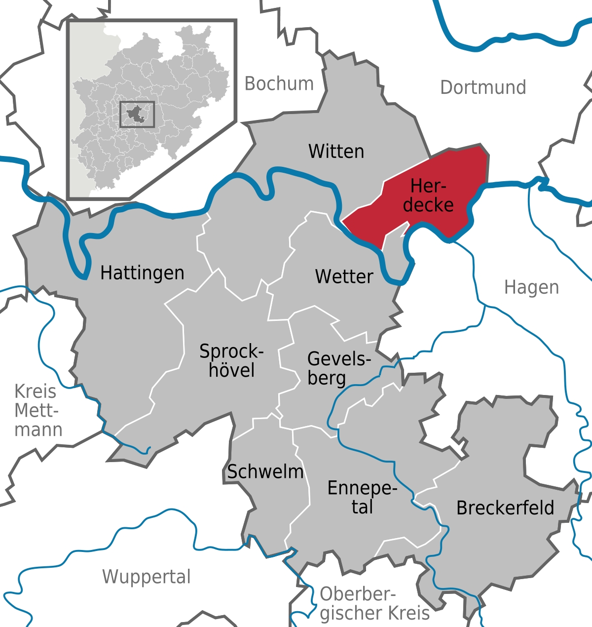 Herdecke - Wikipedia for Where Is Dortmund Germany On The Map