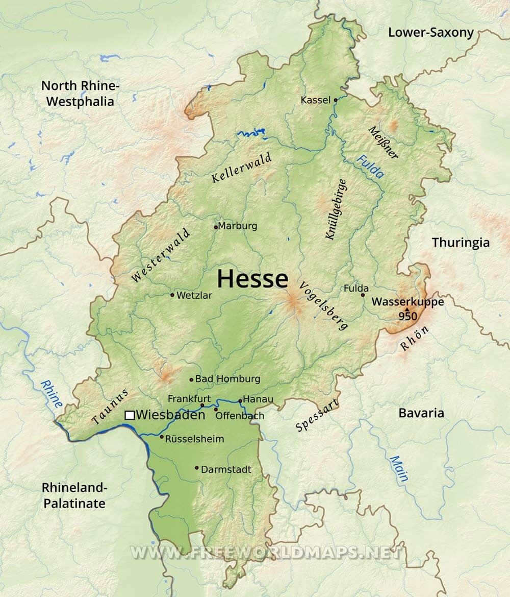 Hesse Physical Map pertaining to Kassel Hessen Germany Map