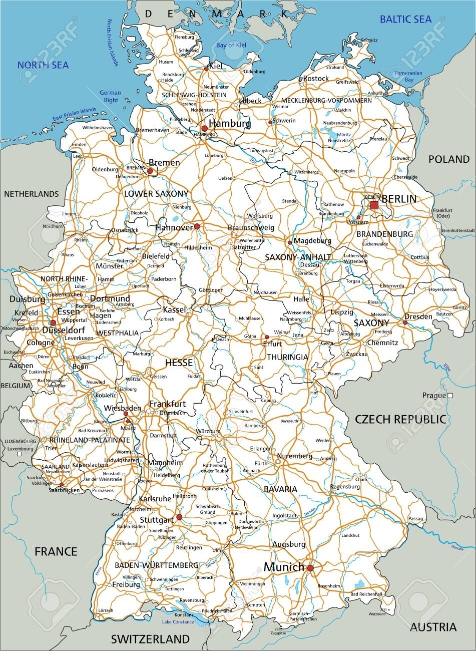 High Detailed Germany Road Map With Labeling. White. inside Road Map Germany Free