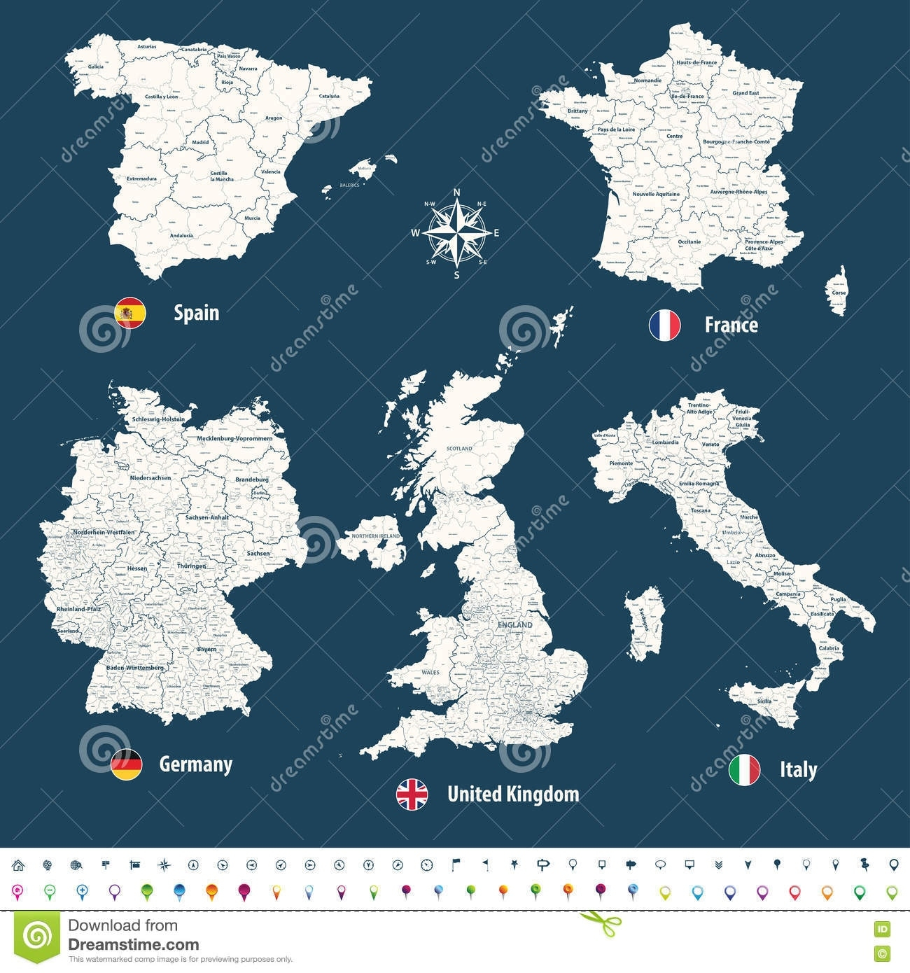 High Detailed Vector Maps Of United Kingdom, Italy, Germany, France throughout Map Of Spain France And Germany