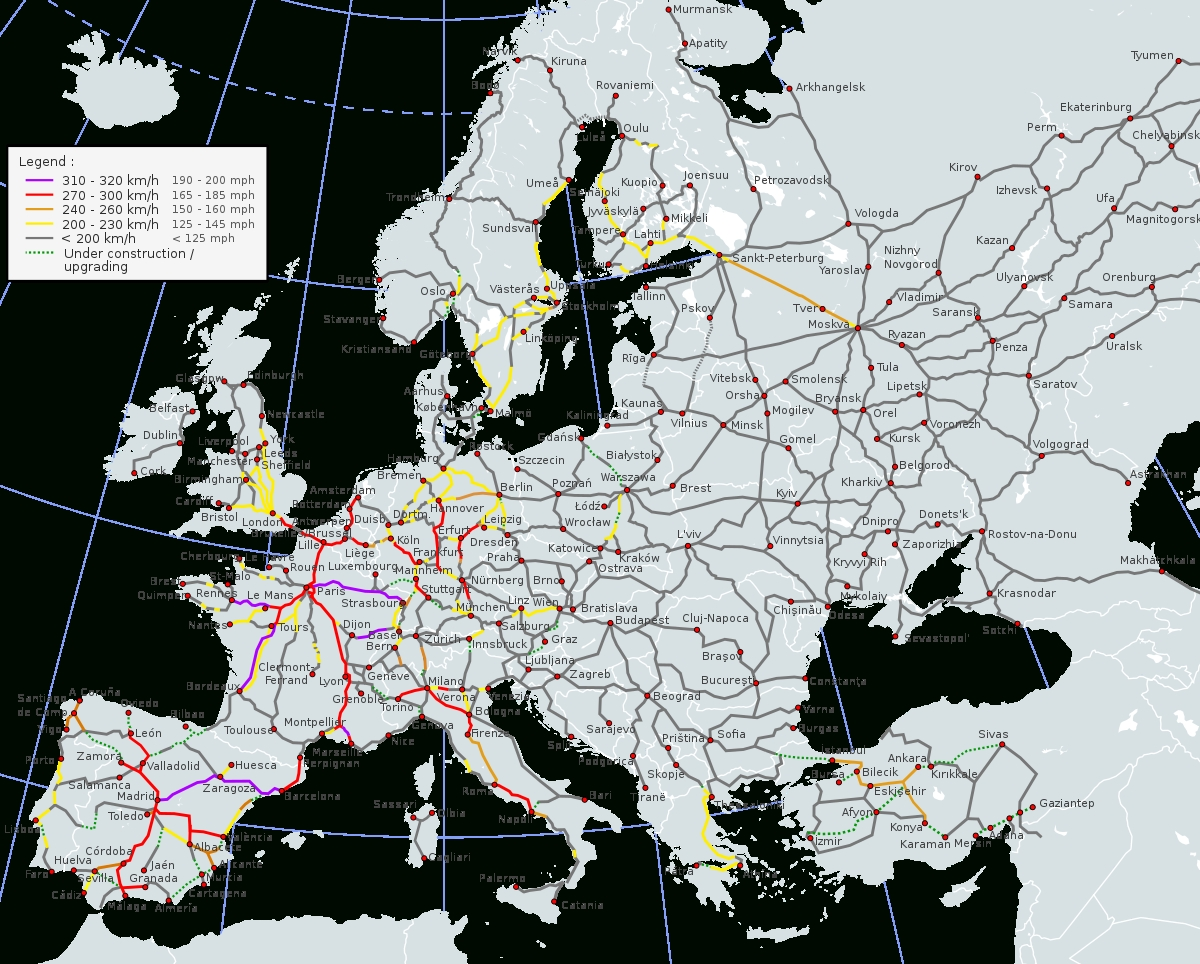 High-Speed Rail In Europe - Wikipedia throughout Greece To Germany Train Map