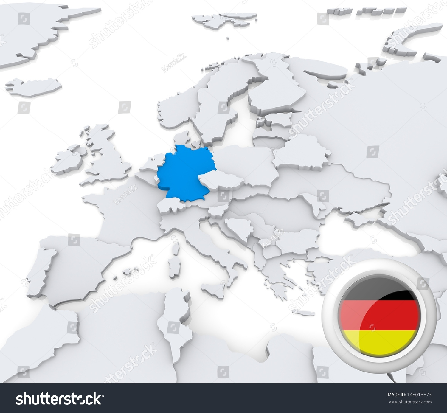 Highlighted Germany On Map Europe National Stock Illustration 148018673 pertaining to Europe Map With Germany Highlighted