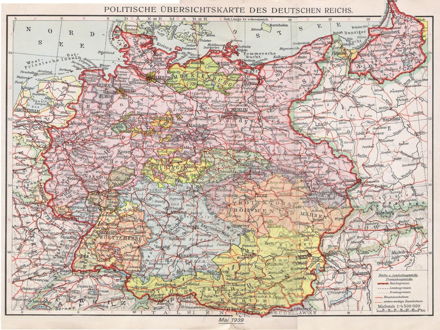 Historical Maps Of Germany for Germany Map 1939