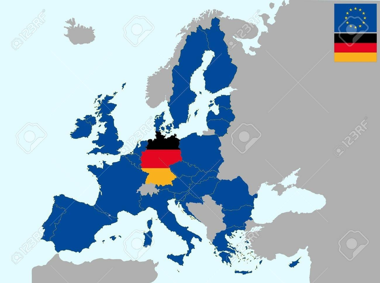 Illustration Of Europe Map With Flag Of Germany, From 1 July.. regarding Germany Location In Europe Map