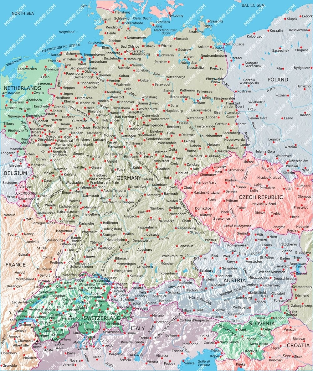 Image Result For Map Switzerland Germany Austria   Destinations for Detailed Map Of Germany And Austria