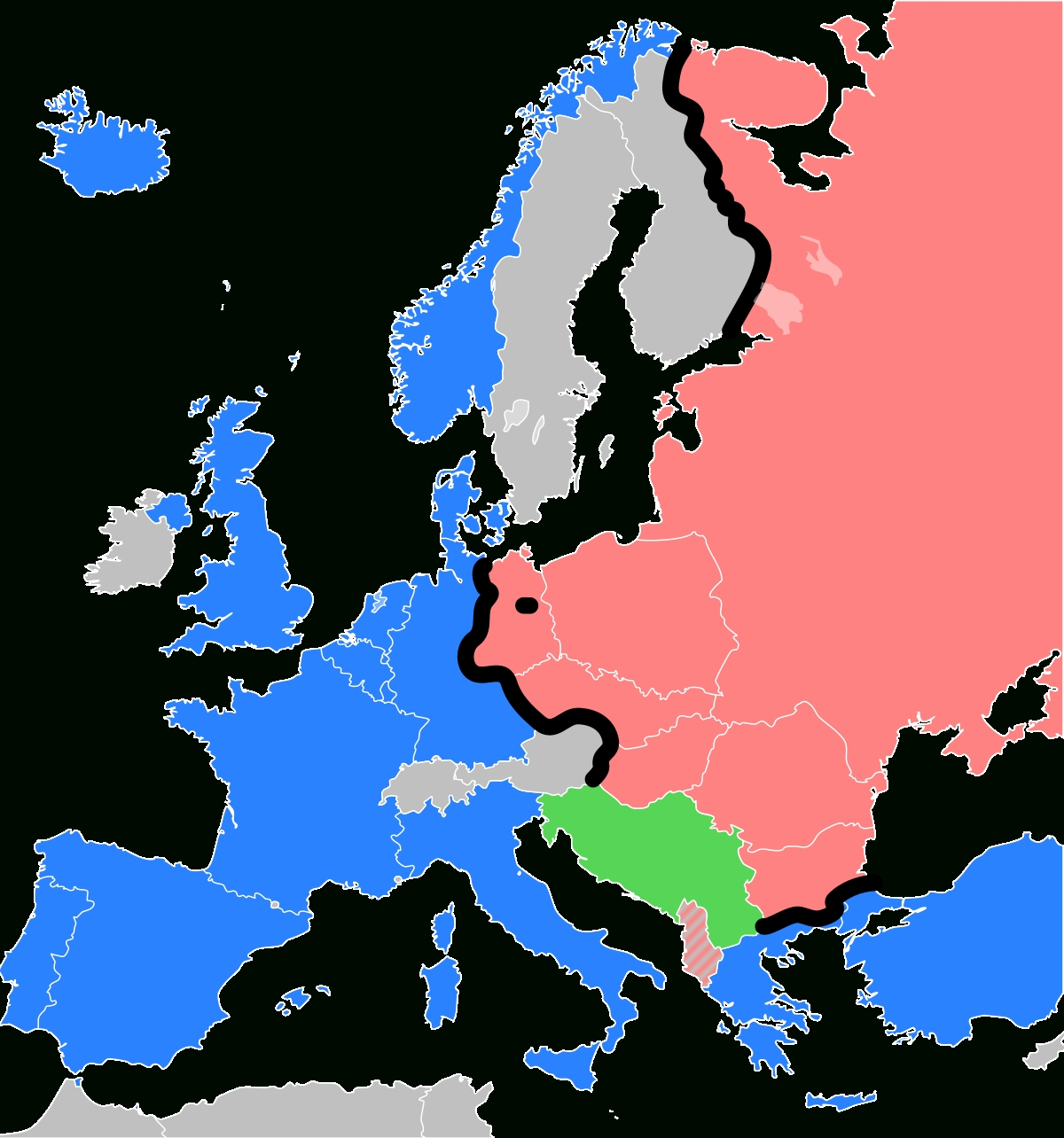 Iron Curtain - Wikipedia regarding Map Of Divided Germany During The Cold War