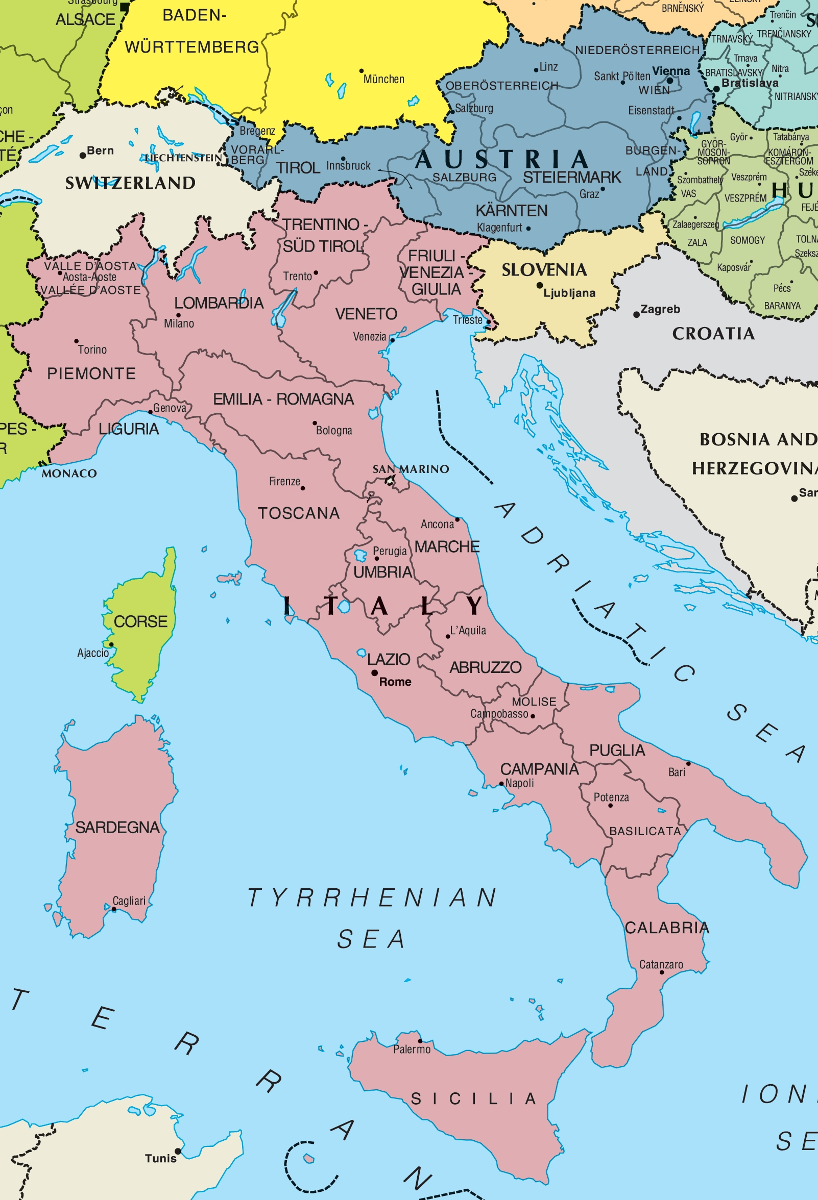 Italy And Austria Map • Mapsof throughout Map Of Germany Austria And Italy