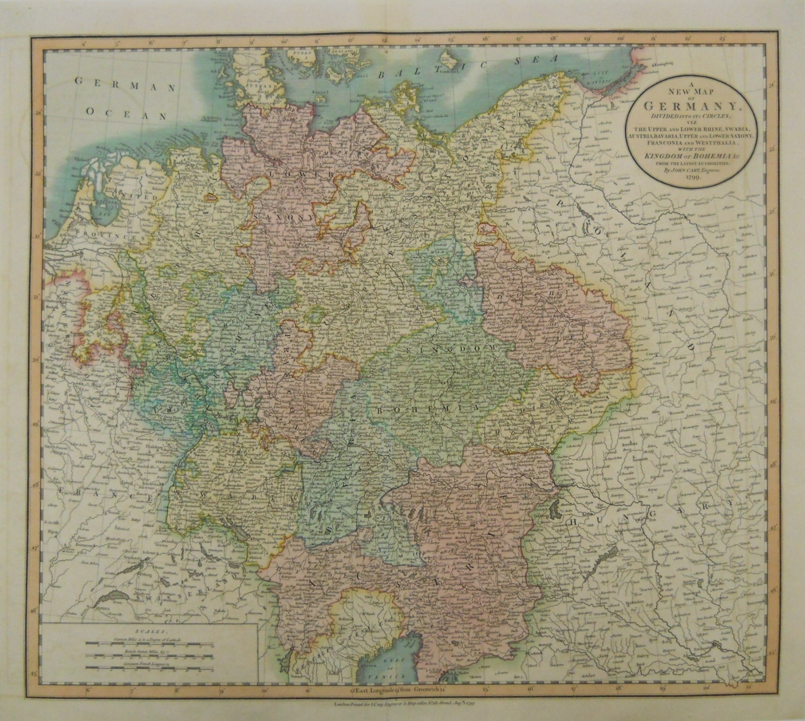 """John Cary. """"a New Map Of Germany."""" 1799 - Philadelphia Print Shop West with regard to Map Of Germany To Print"""