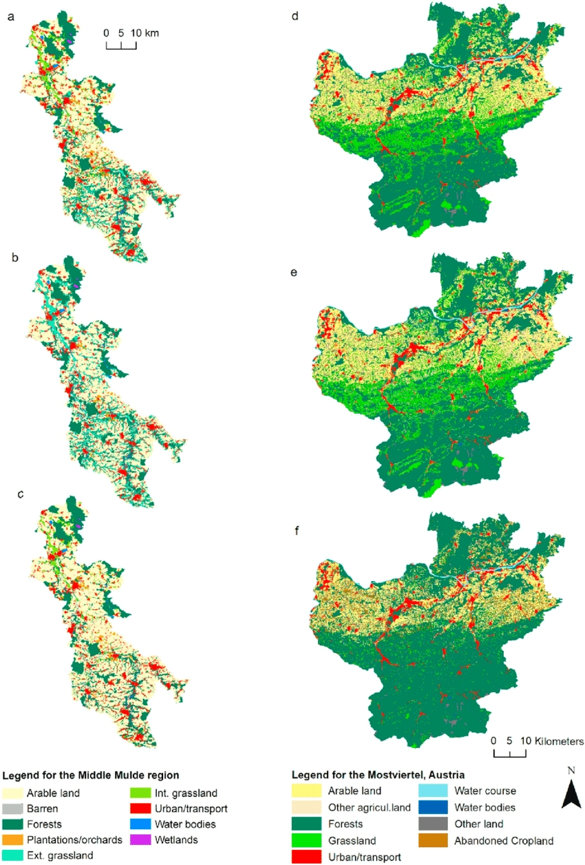 Land Use Maps For A) Lba, B) Lsh And C) Lsp In The Mulde Region In with regard to Germany Land Use Map