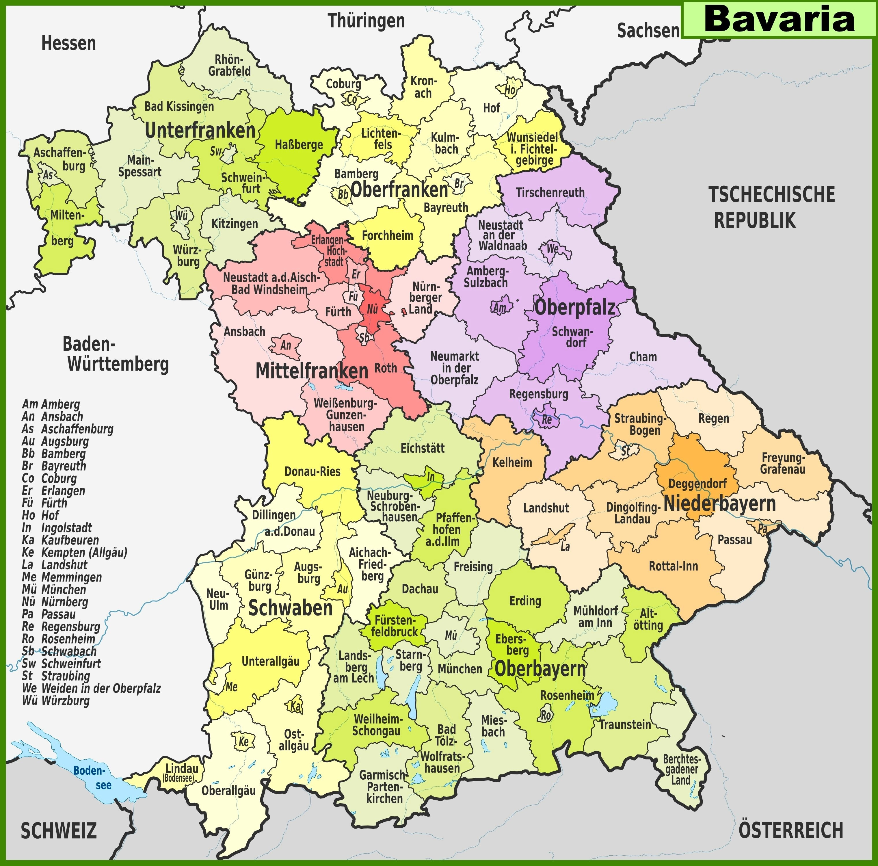 Large Bavaria Maps For Free Download And Print   High-Resolution And throughout Fussen Germany Map