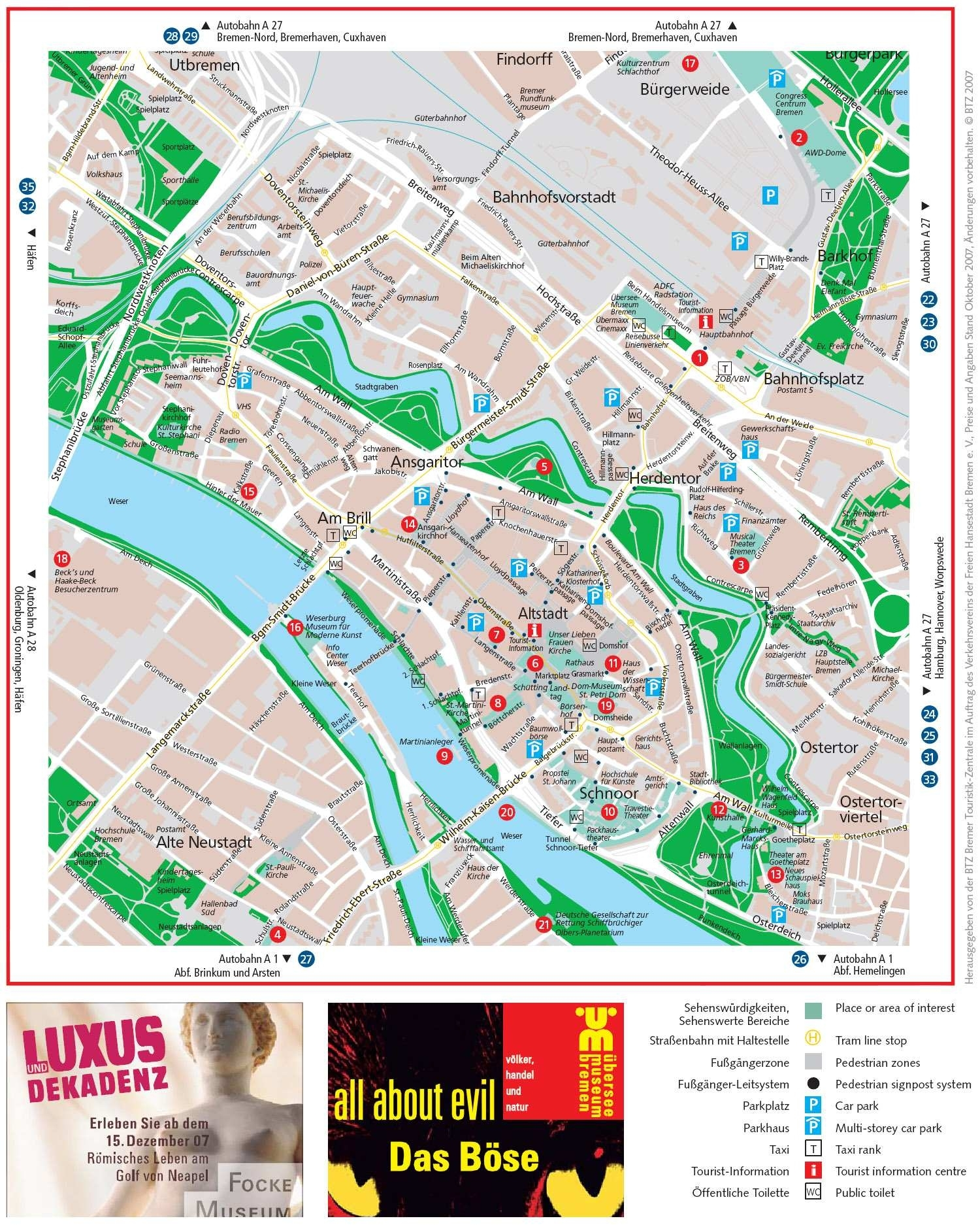 Large Bremen Maps For Free Download And Print   High-Resolution And within Bremen On Map Of Germany