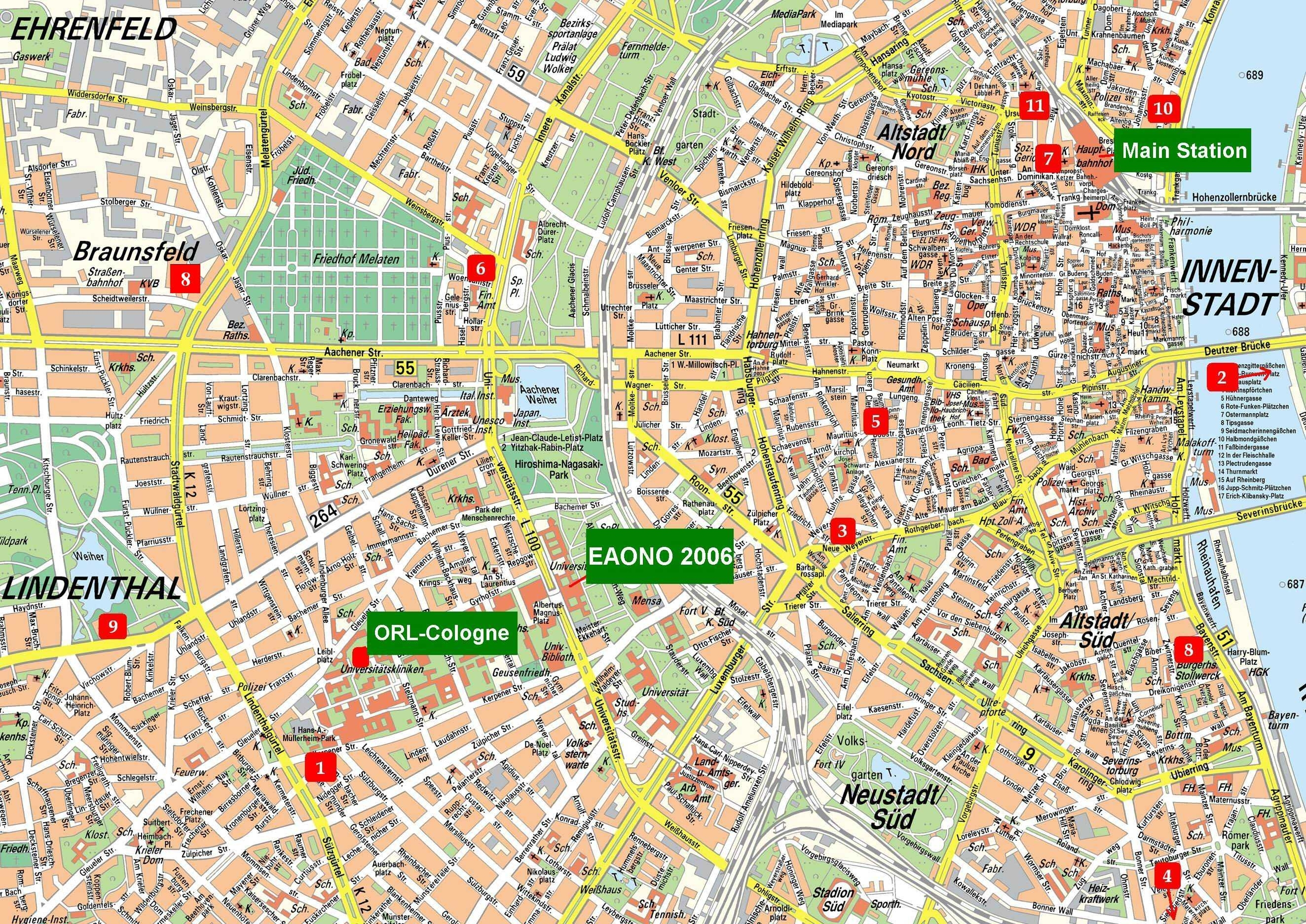 Large Cologne Maps For Free Download And Print   High-Resolution And intended for Map Of Cologne Germany Area