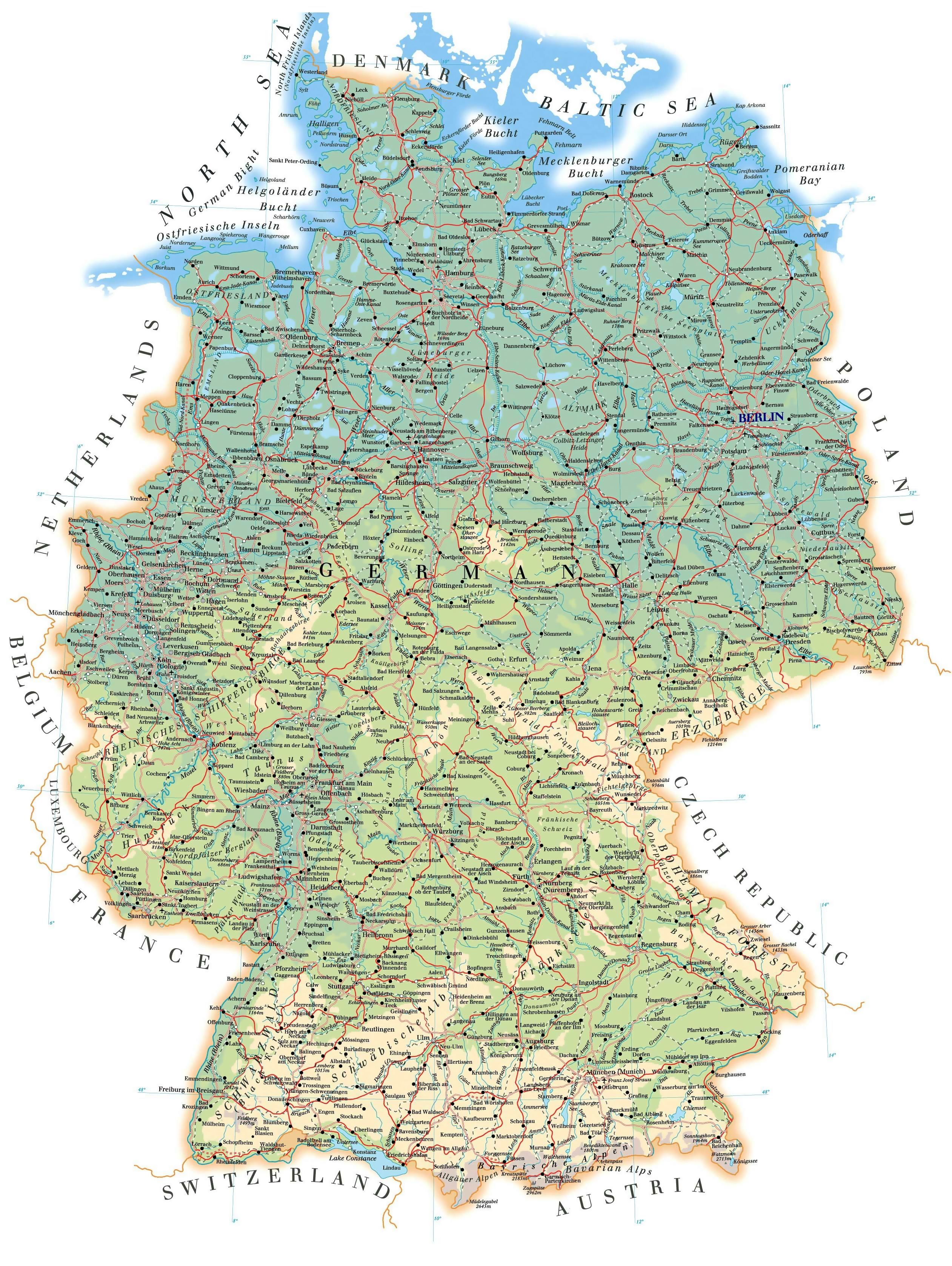 Large Detailed Elevation Map Of Germany With Roads, Cities And pertaining to Map Of Germany Airports And Cities