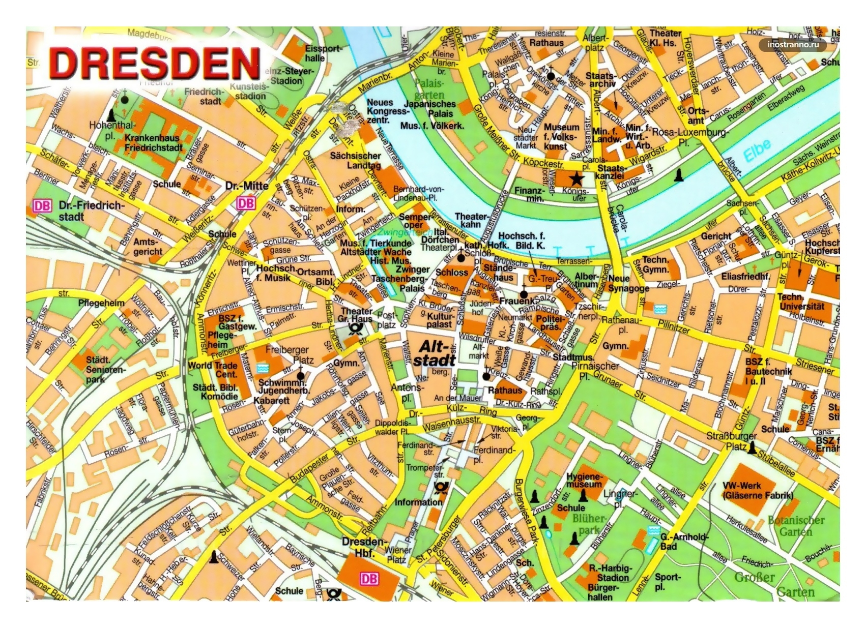 Large Detailed Map Of Central Part Of Dresden City | Dresden intended for Dresden Germany Map