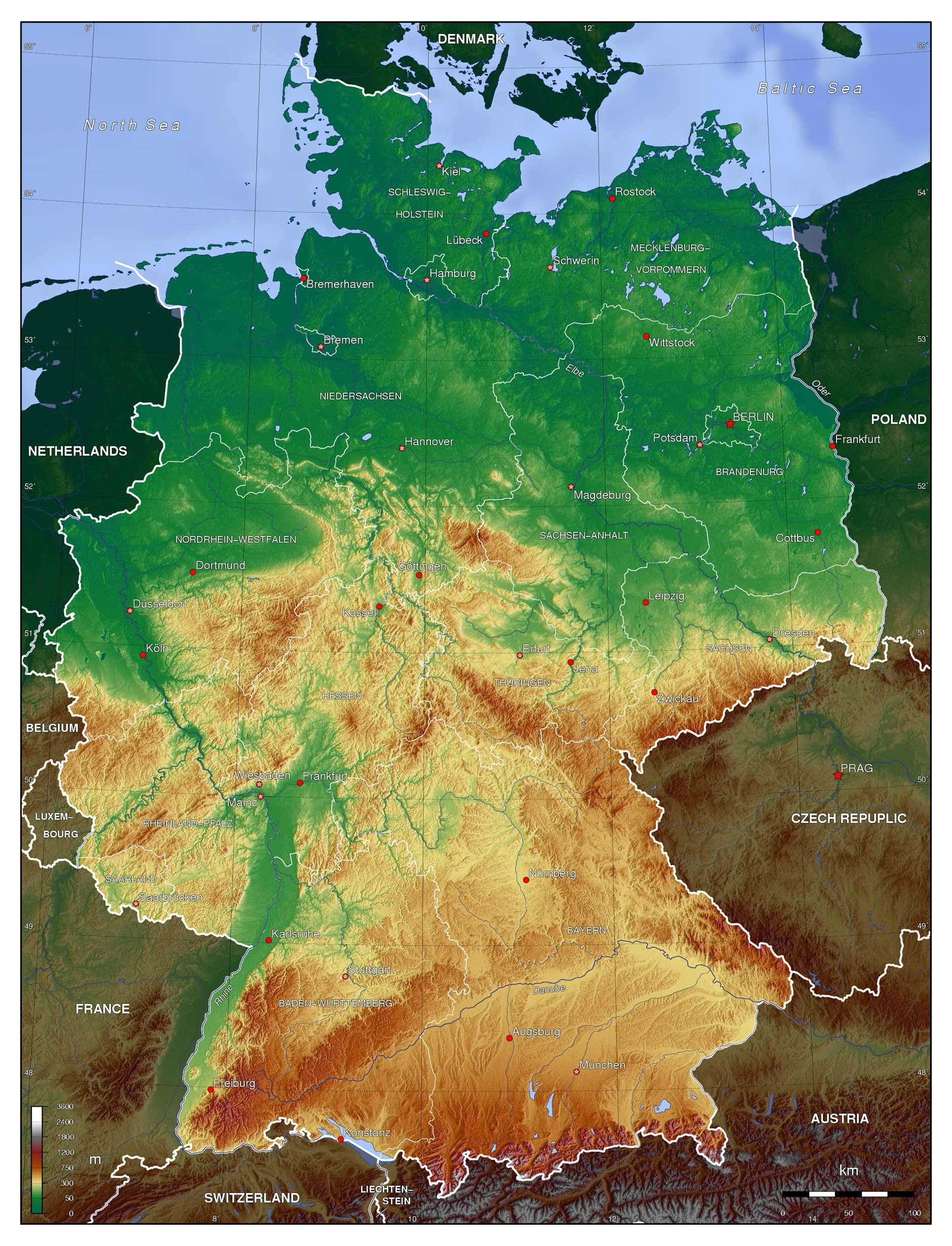 Large Detailed Physical Map Of Germany | Germany | Europe | Mapsland for Germany On World Map Physical