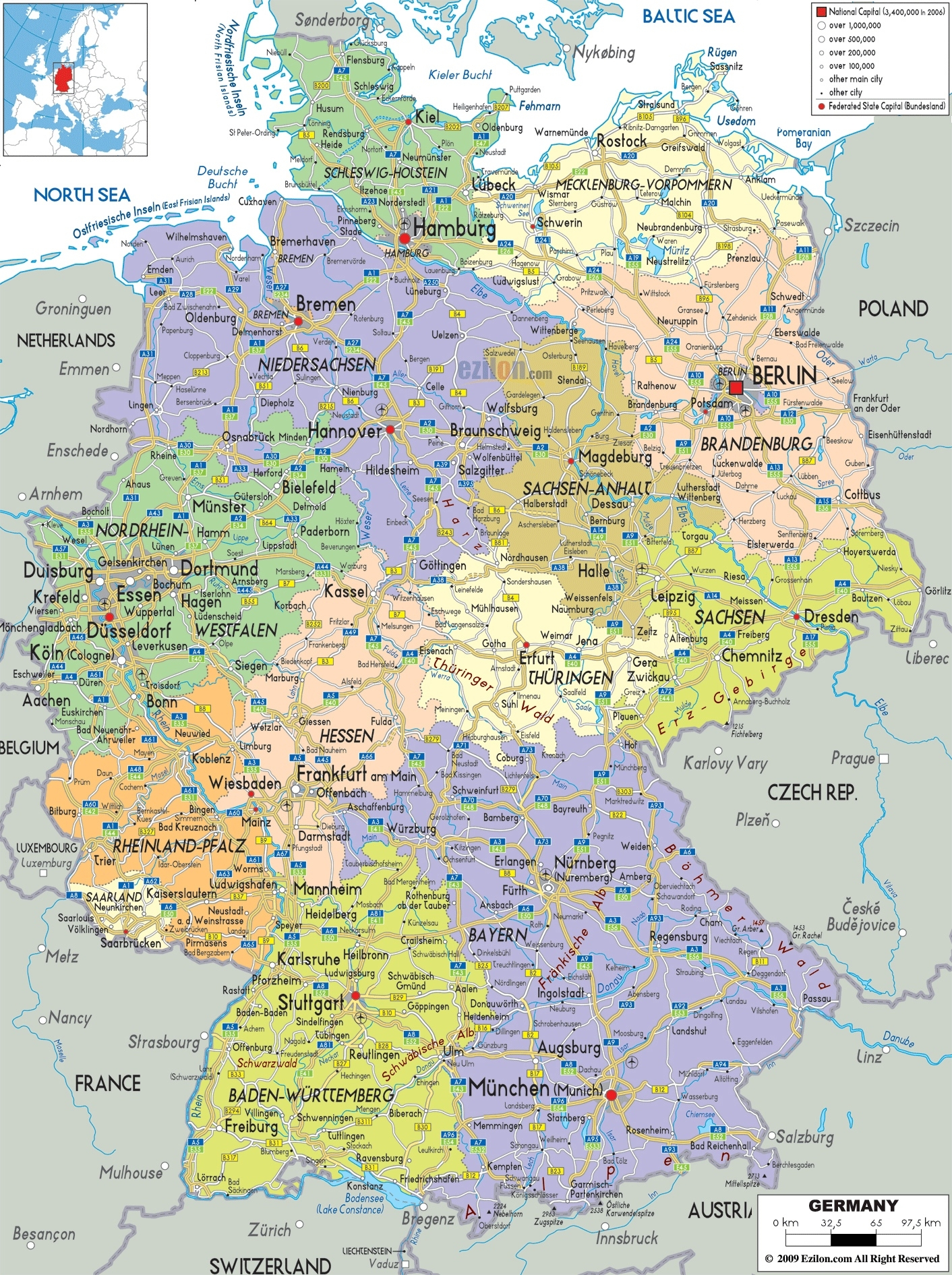 Large Detailed Political And Administrative Map Of Germany With All throughout Map Of Germany Airports And Cities