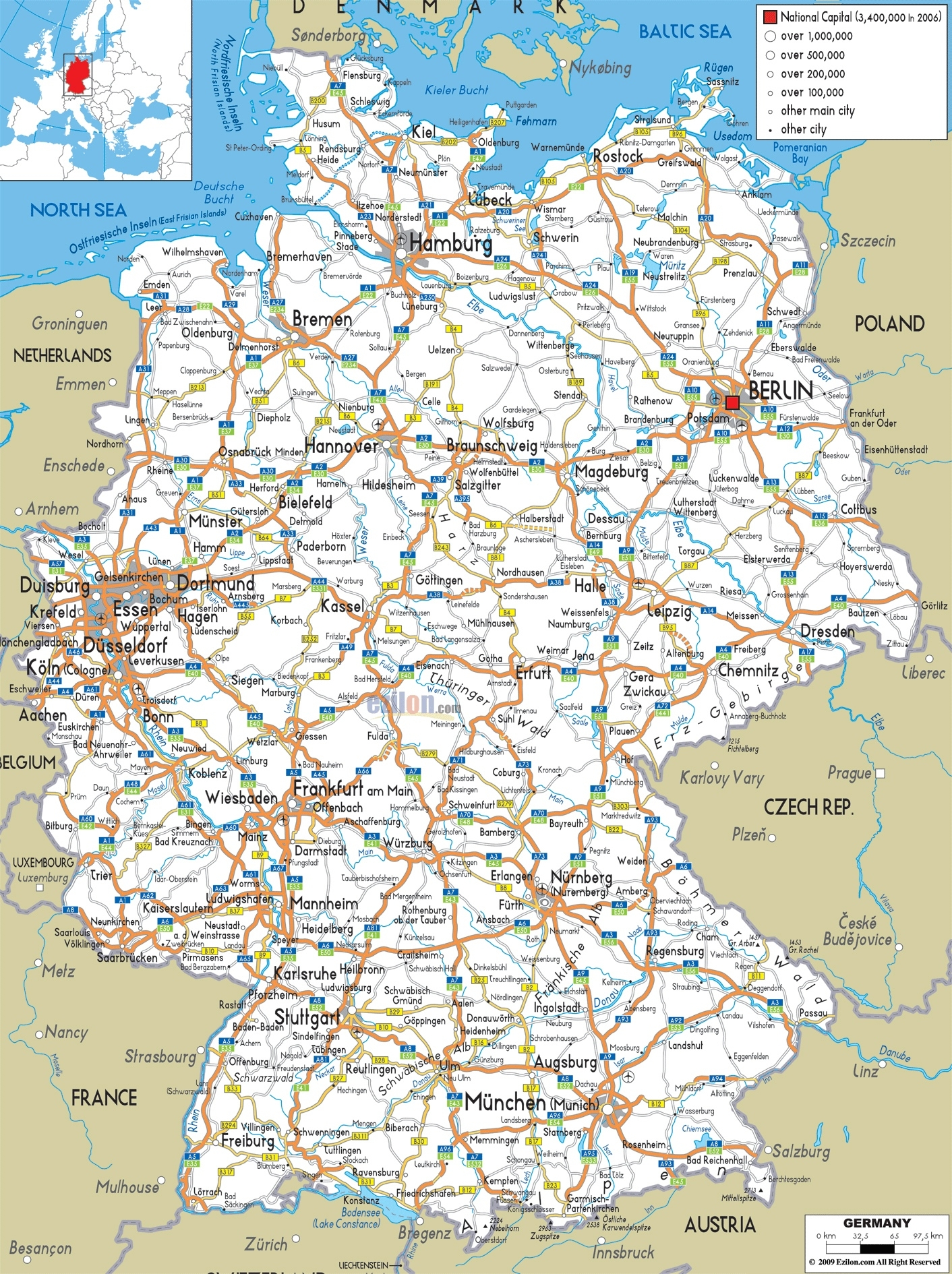 Large Detailed Road Map Of Germany With All Cities And Airports throughout Map Of Germany Airports And Cities