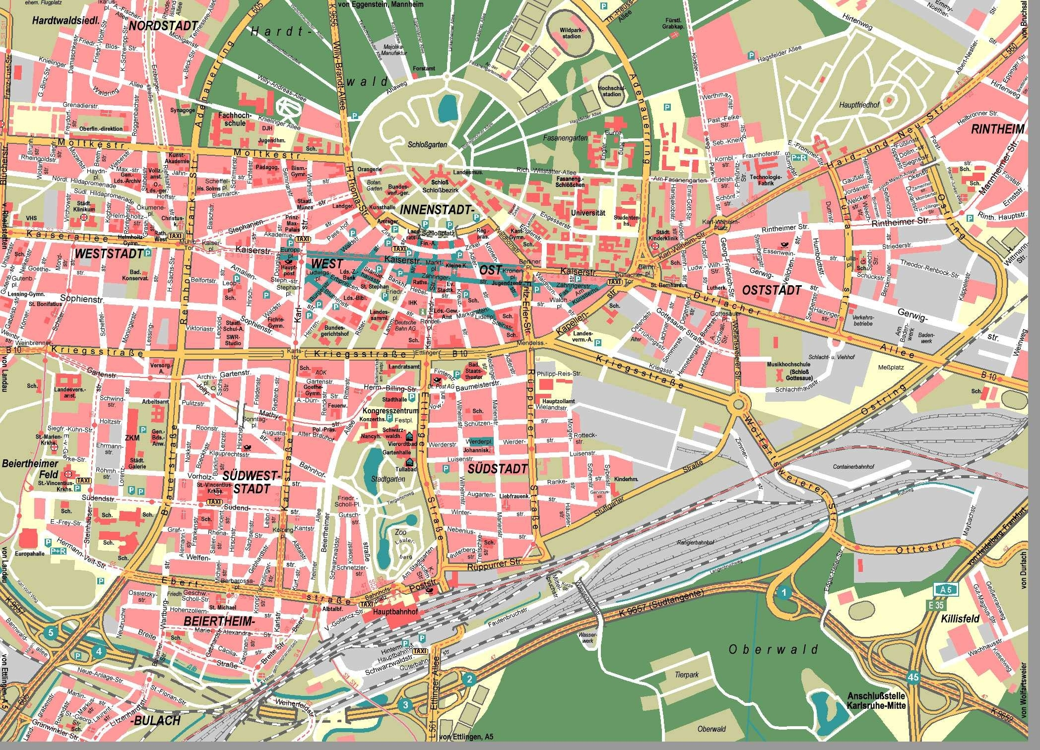 Large Karlsruhe Maps For Free Download And Print   High-Resolution inside Street Map Of Freiburg Germany