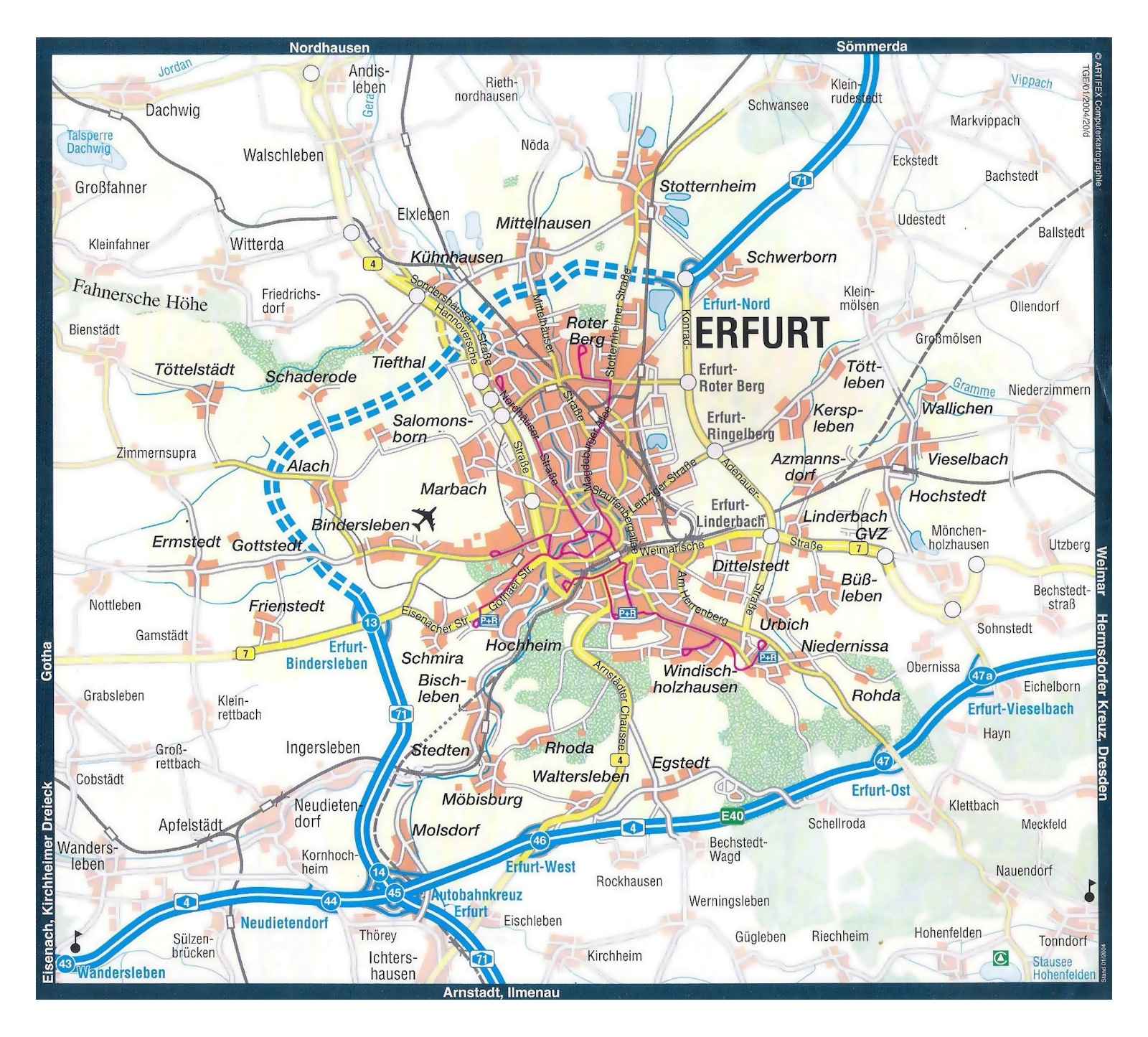 Large Map Of Erfurt City And Its Surroundings With Roads And Other pertaining to Erfurt Germany Map