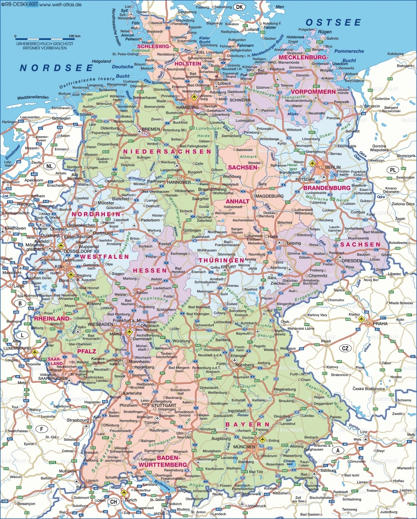 Large Map Of Germany And Travel Information | Download Free Large in Road Map Germany Free